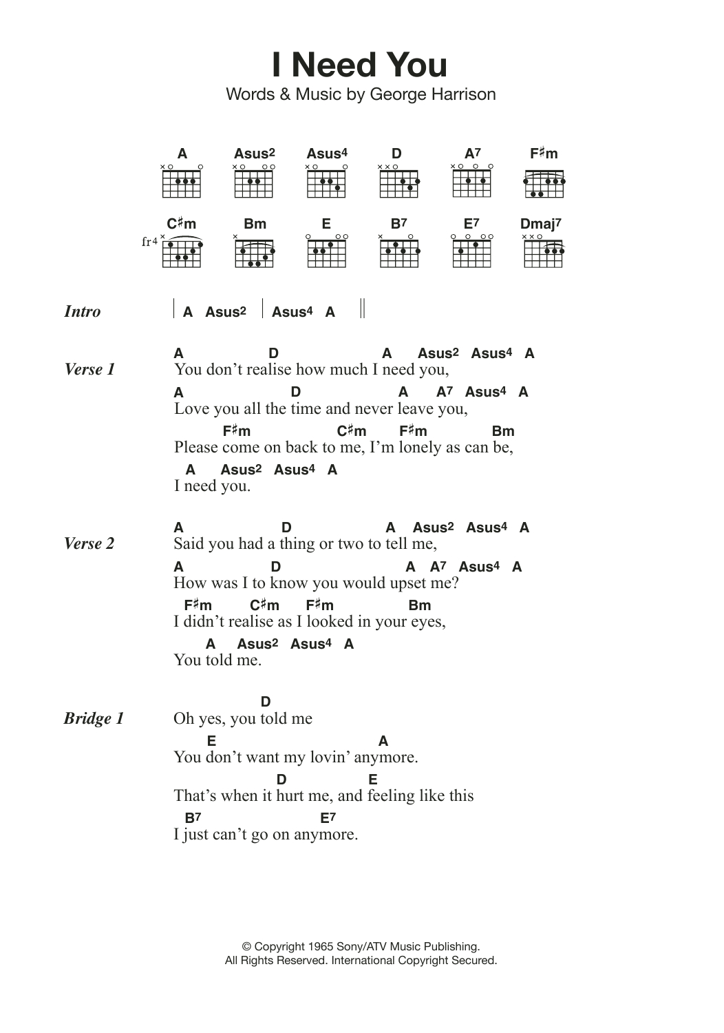 Lord I Need You Chords I Need You The Beatles Piano Vocal Guitar Right Hand Melody Digital Sheet Music