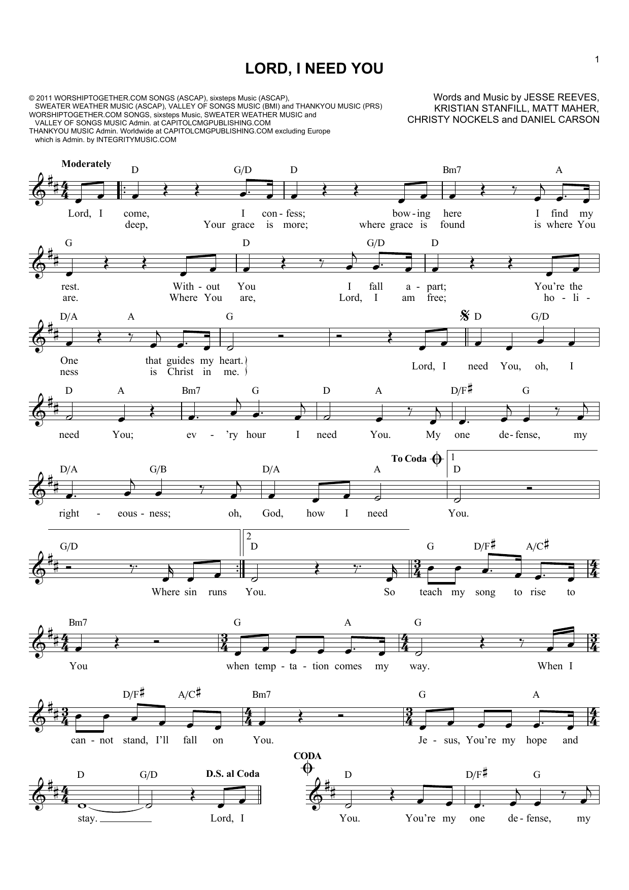 Lord I Need You Chords Lord I Need You Lead Sheet Fake Book Print Sheet Music Now