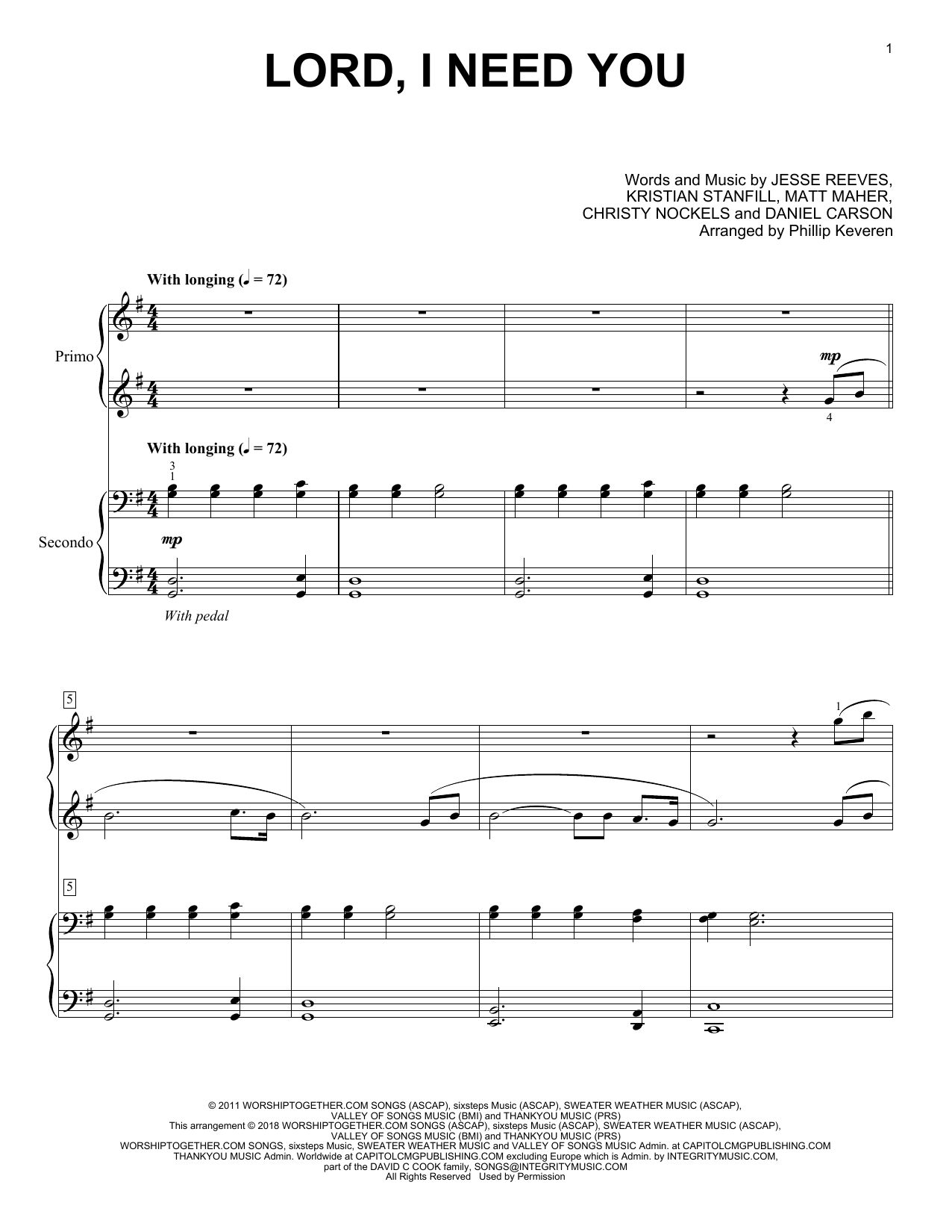 Lord I Need You Chords Phillip Keveren Lord I Need You Sheet Music Notes Chords Download Printable Piano Duet Sku 250312