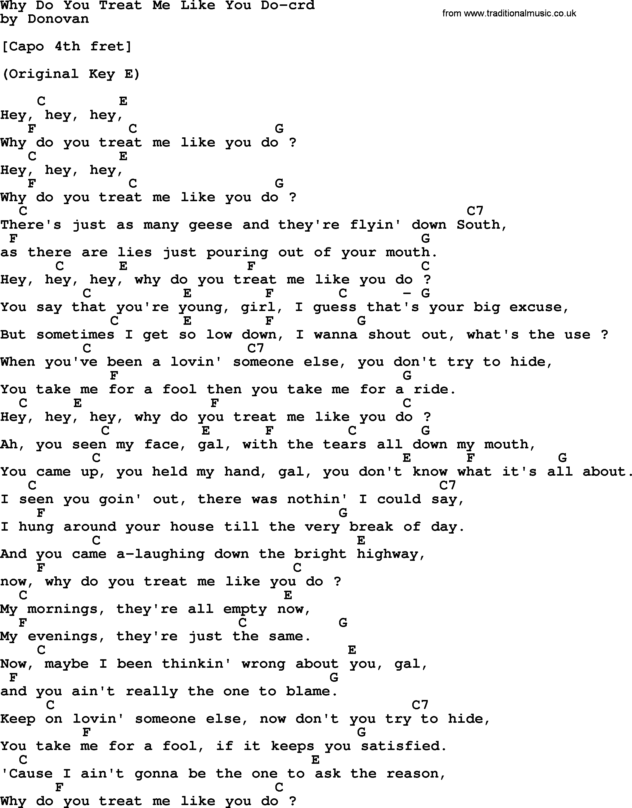 Love Me Like You Do Chords Donovan Leitch Song Why Do You Treat Me Like You Do Lyrics And Chords