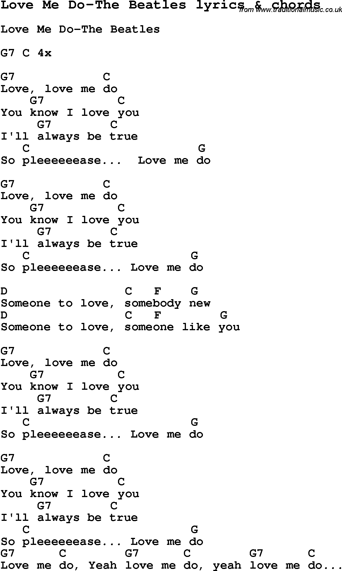 Love Me Like You Do Chords Love Song Lyrics Forlove Me Do The Beatles With Chords