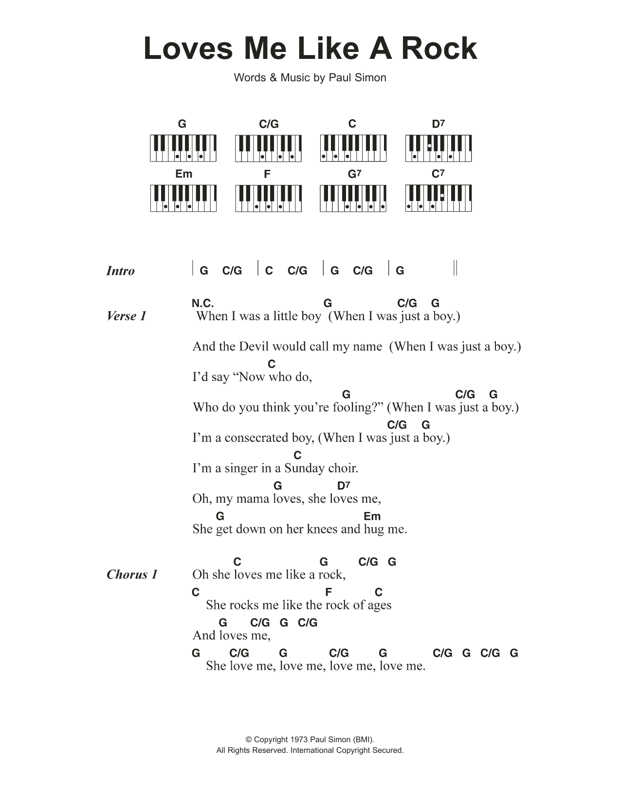 Love Me Like You Do Chords Loves Me Like A Rock Paul Simon Piano Vocal Guitar Right Hand Melody Digital Sheet Music