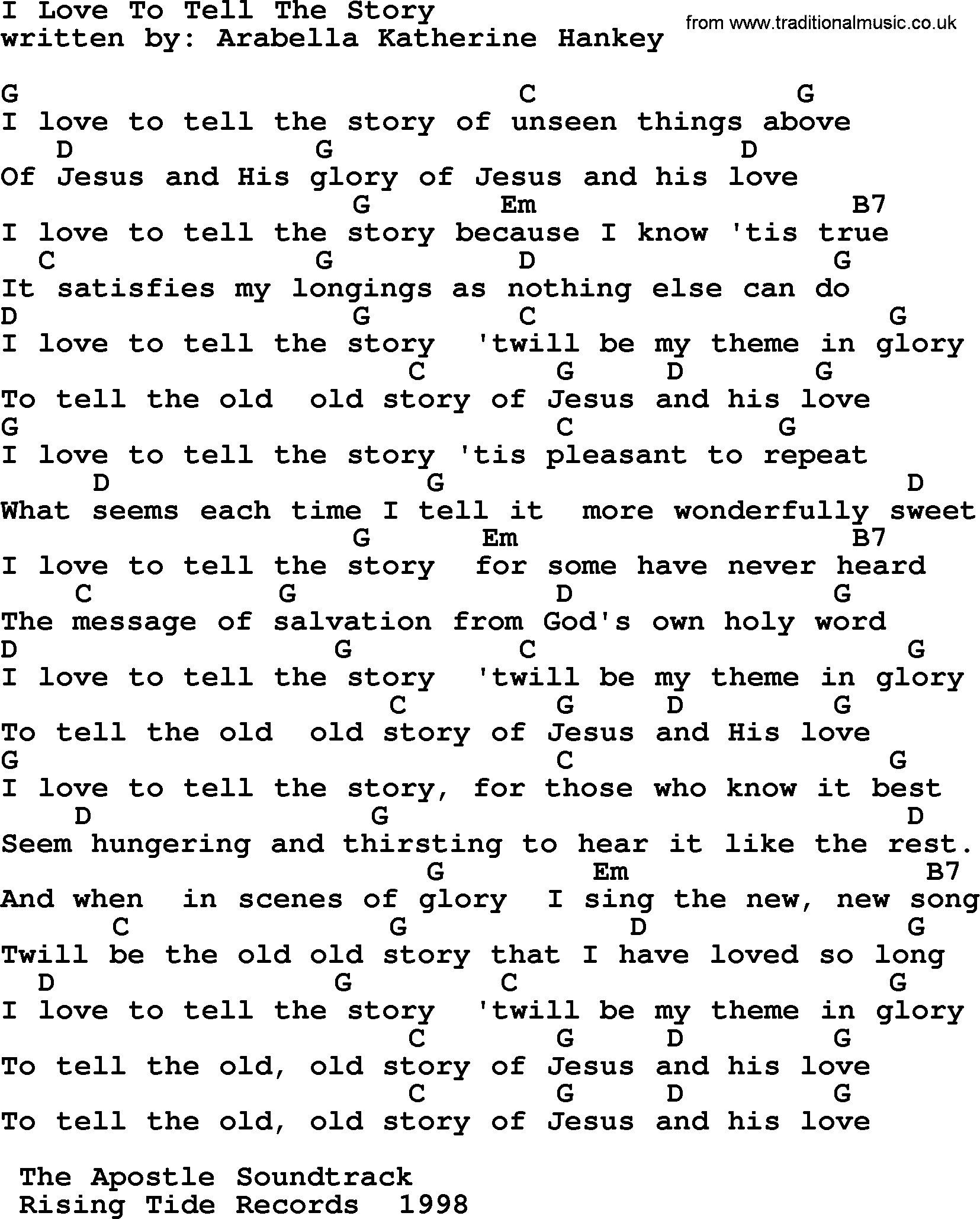 Love Story Chords Emmylou Harris Song I Love To Tell The Story Lyrics And Chords