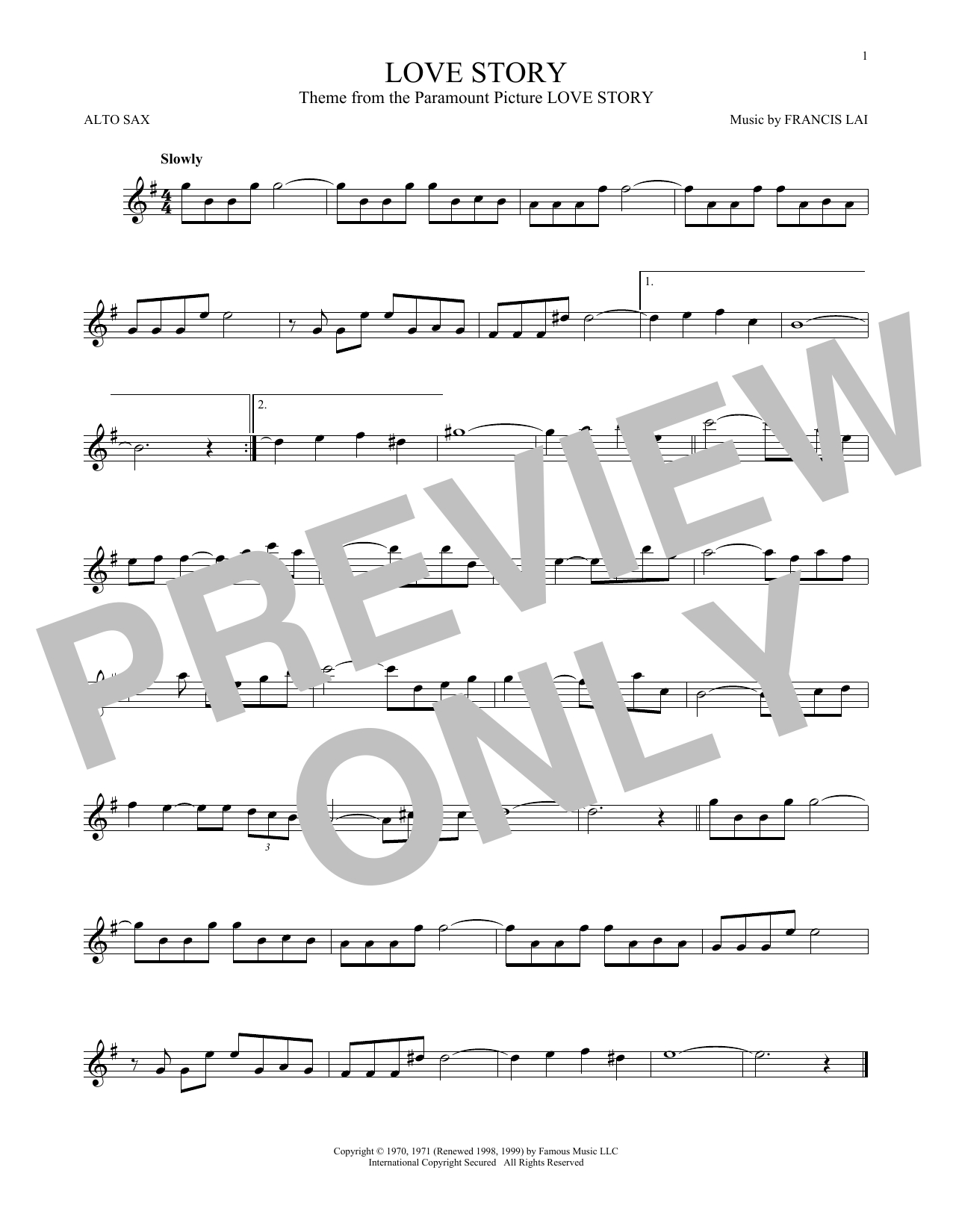 Love Story Chords Francis Lai Love Story Sheet Music Notes Chords Download Printable Alto Saxophone Sku 168786
