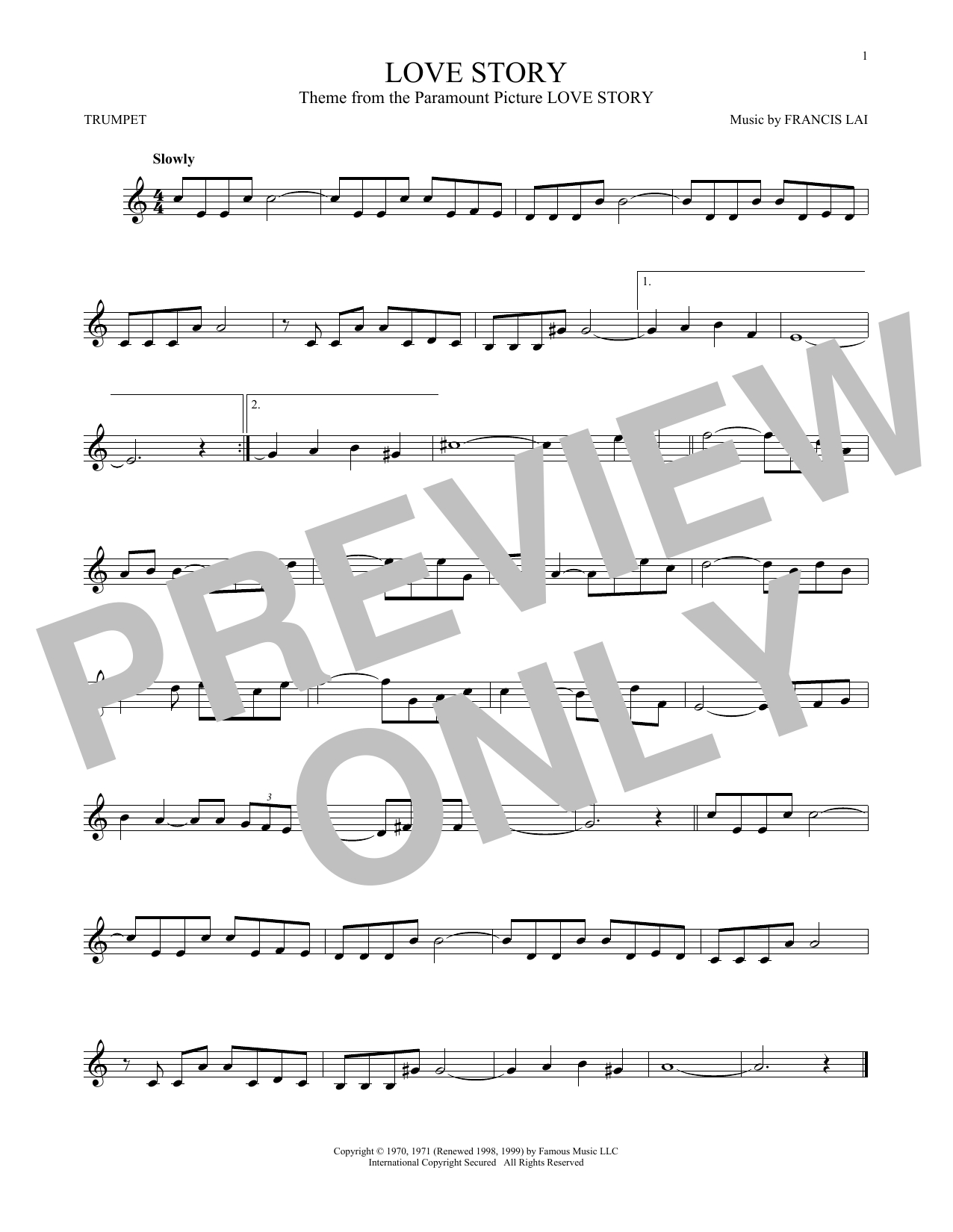 Love Story Chords Francis Lai Love Story Sheet Music Notes Chords Download Printable Trumpet Sku 168799
