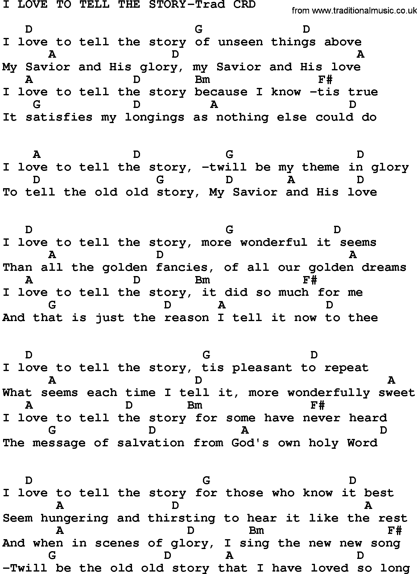 Love Story Chords Gospel Song I Love To Tell The Story Trad Lyrics And Chords
