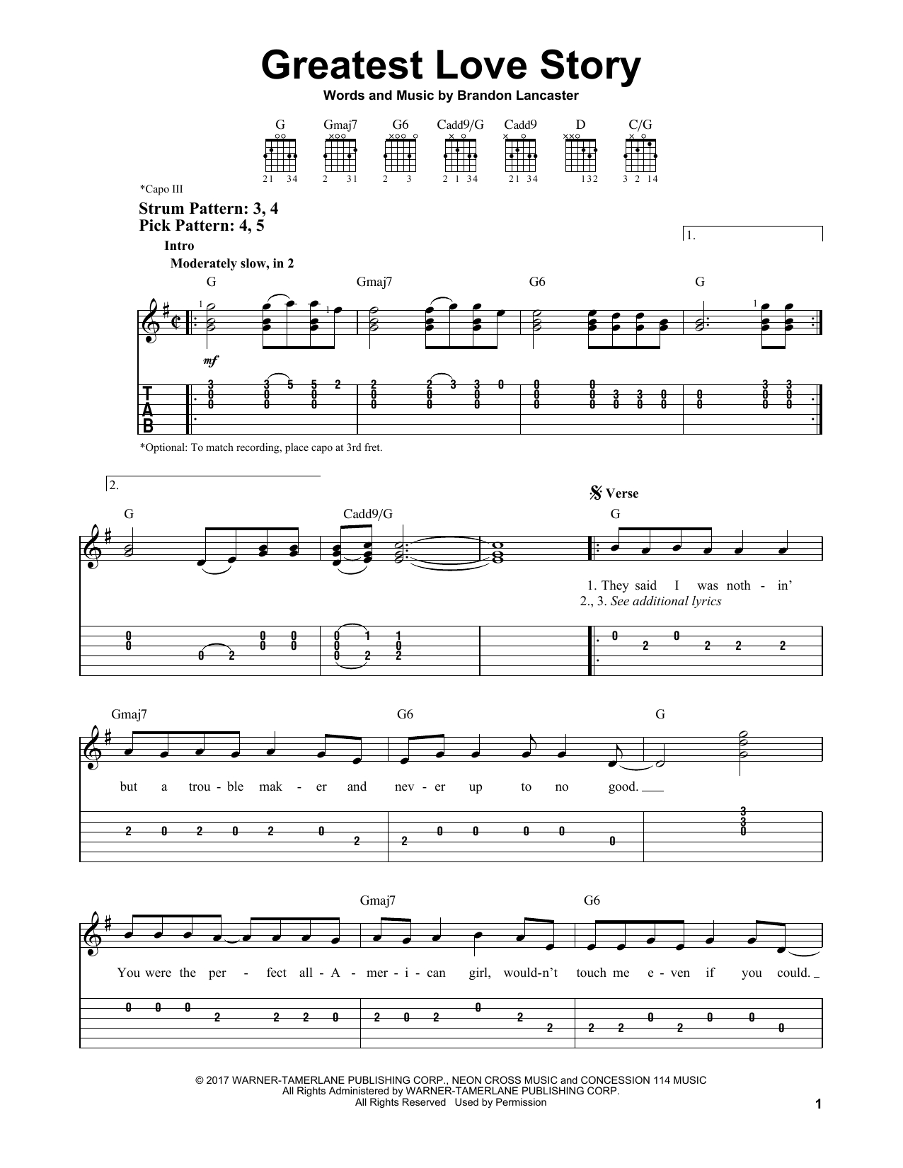 Love Story Chords Greatest Love Story Lanco Easy Guitar Tab Guitar Instructor