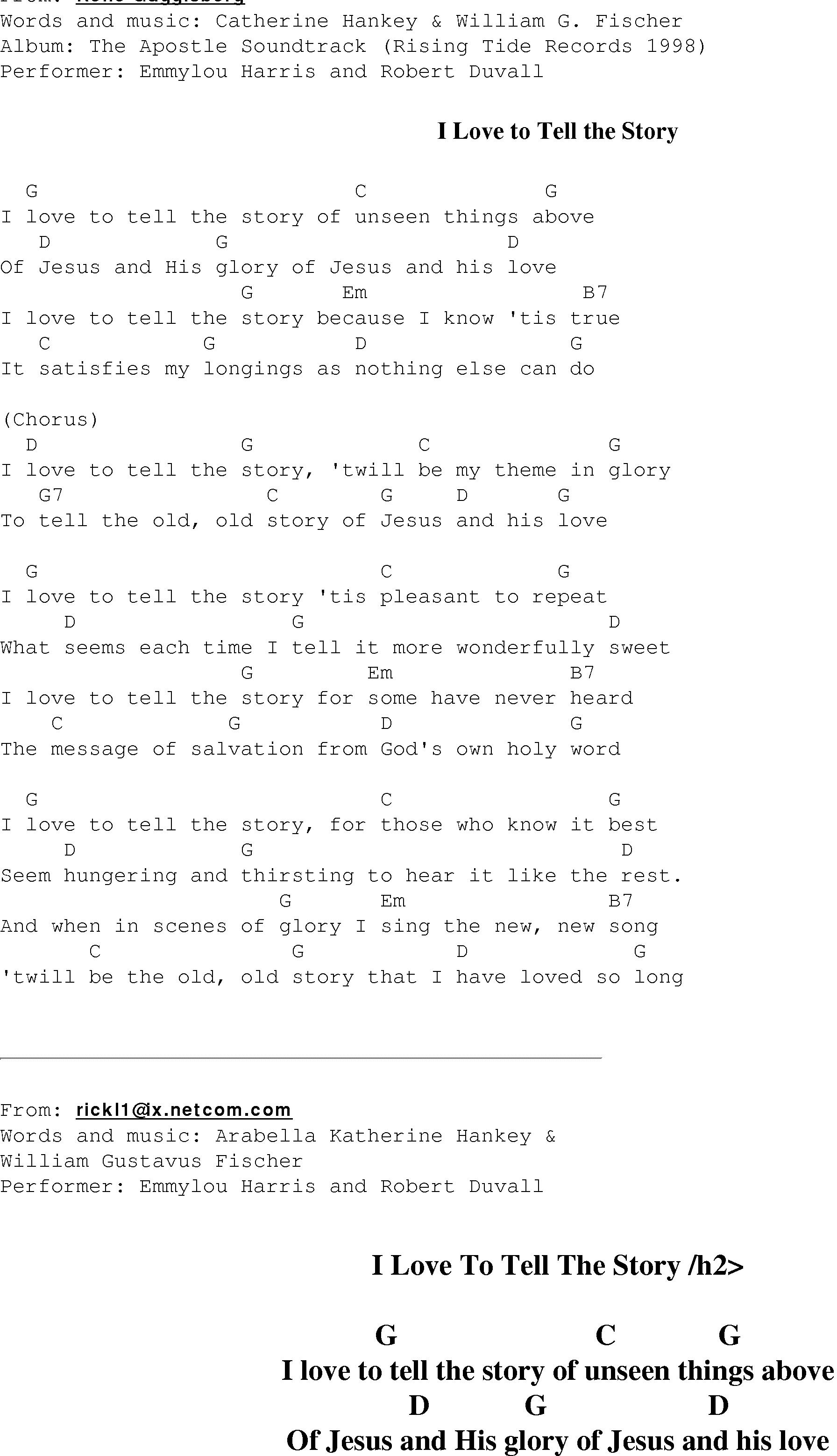 Love Story Chords I Love To Tell The Story Christian Gospel Song Lyrics And Chords