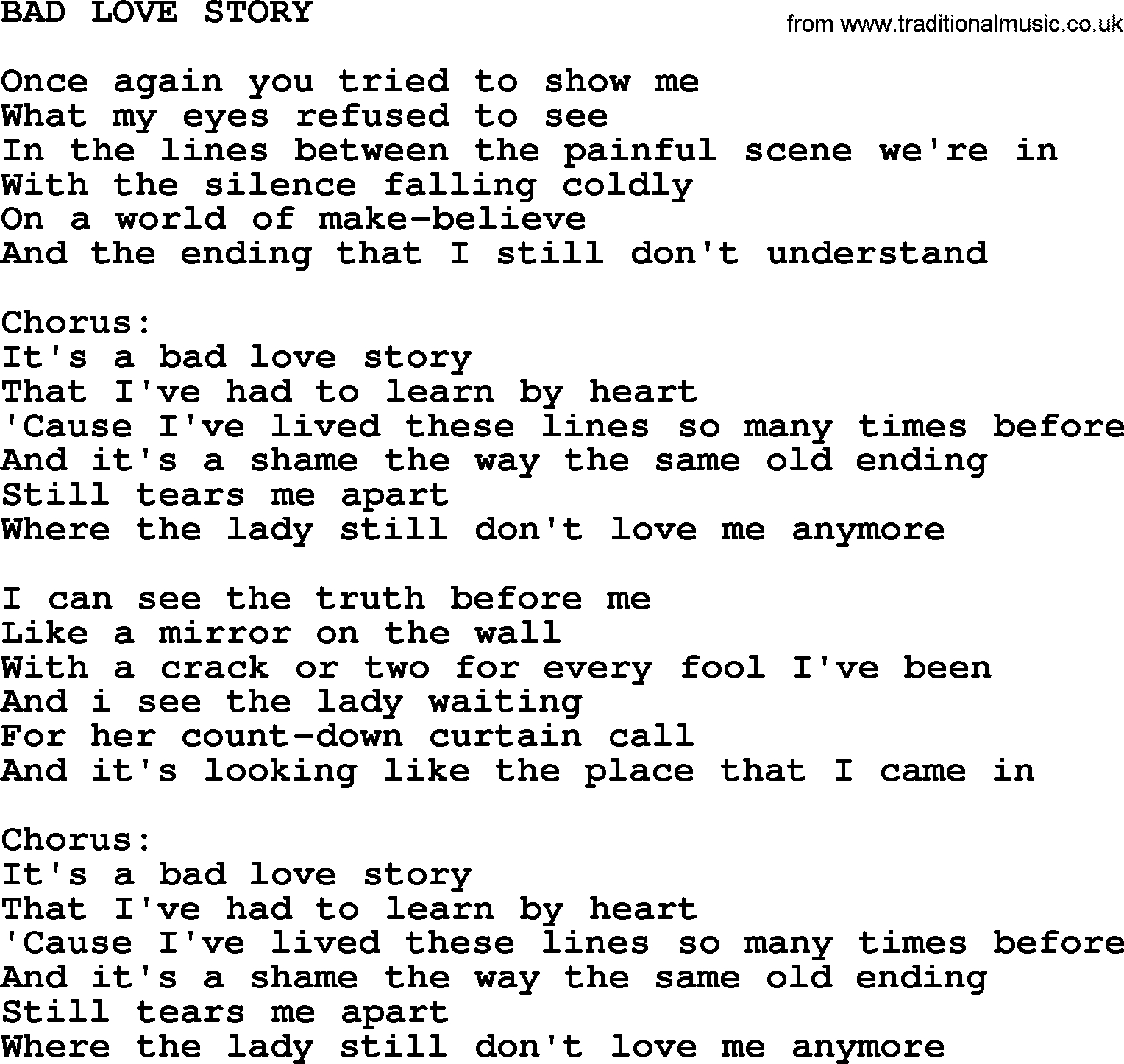 Love Story Chords Kris Kristofferson Song Bad Love Storytxt Lyrics And Chords