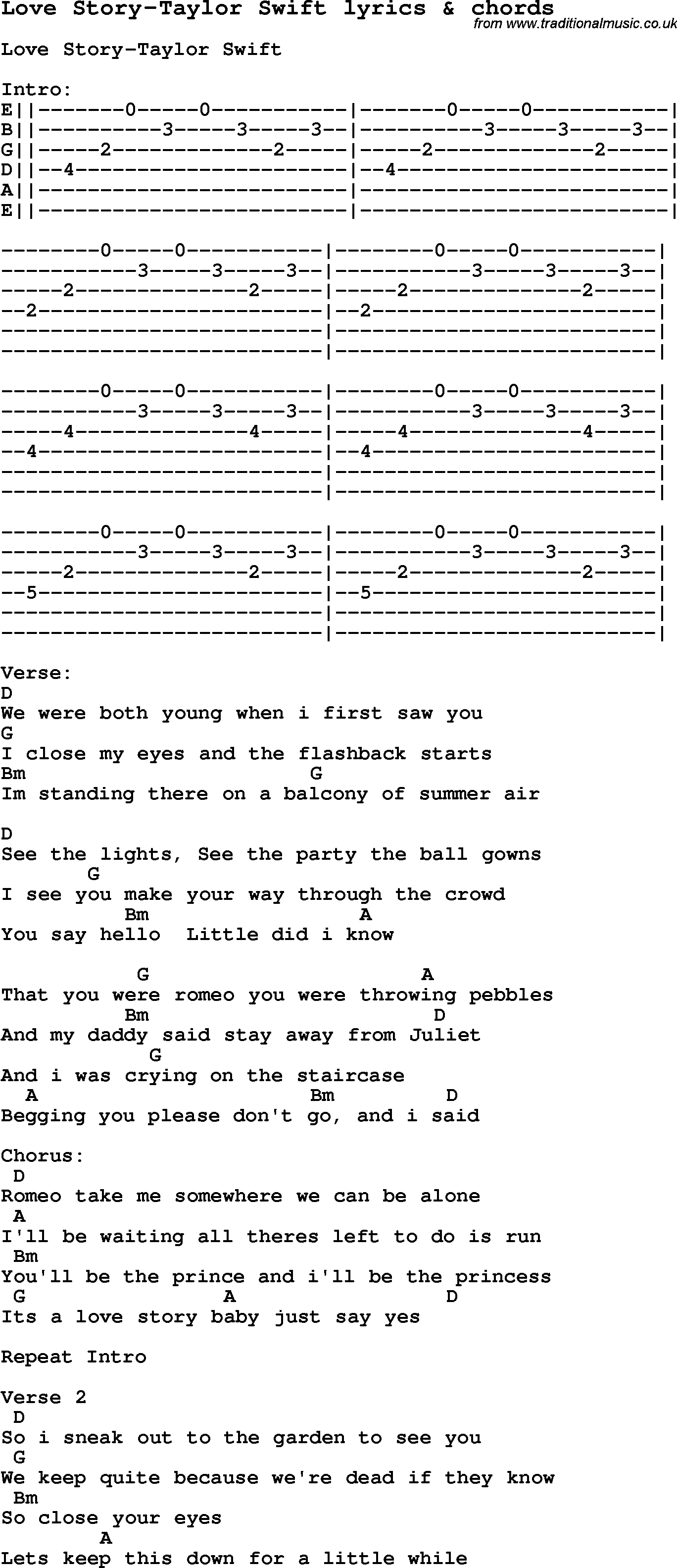 Love Story Chords Love Song Lyrics Forlove Story Taylor Swift With Chords