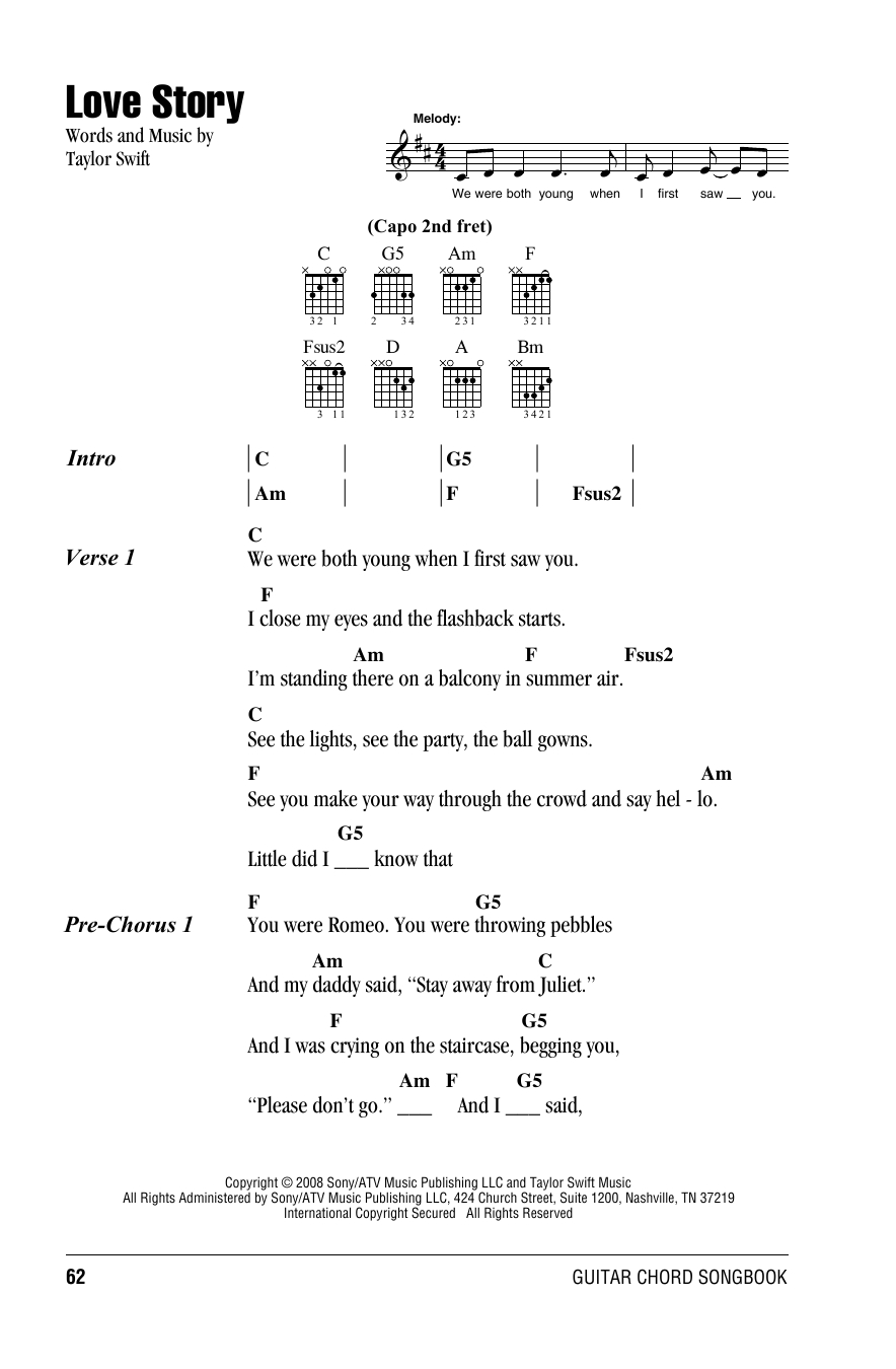 Love Story Chords Love Story Taylor Swift Guitar Chordslyrics Guitar Instructor