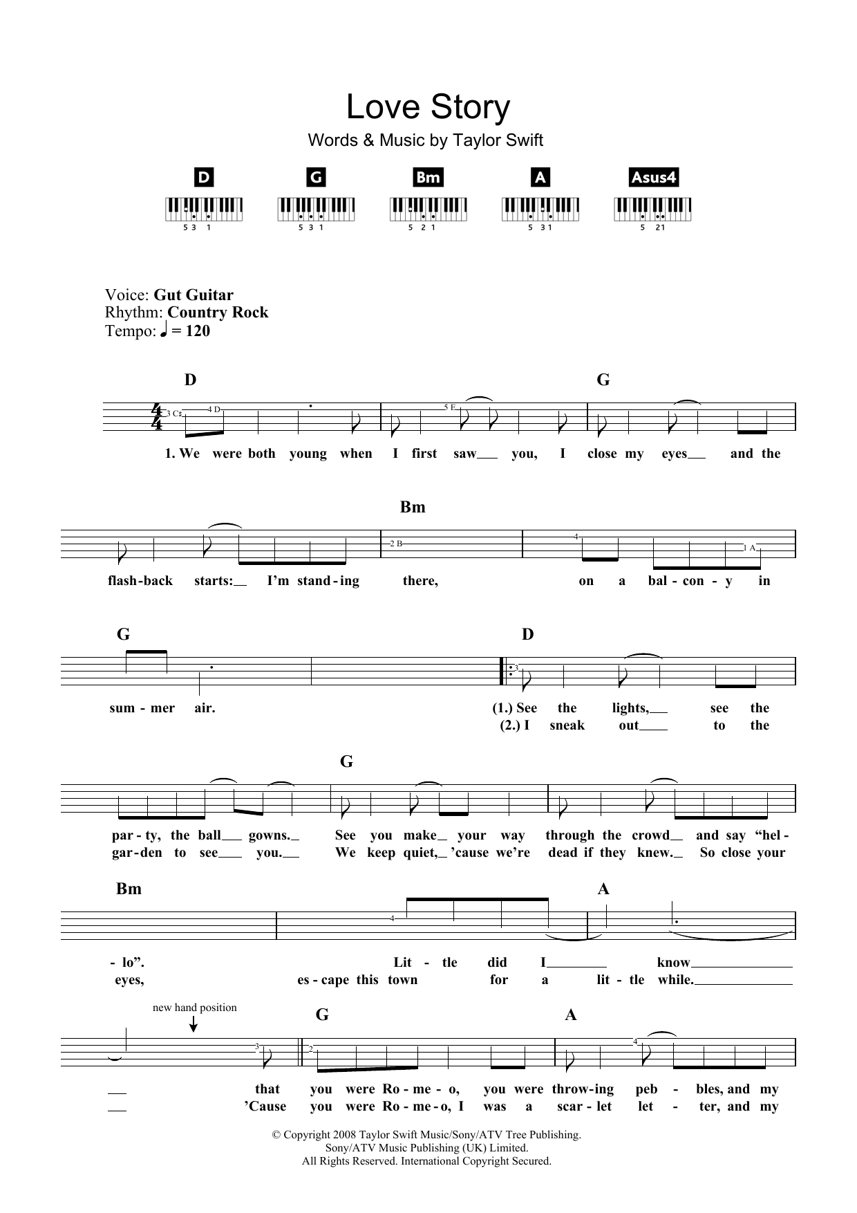 Love Story Chords Love Story Taylor Swift Piano Vocal Guitar Right Hand Melody Digital Sheet Music