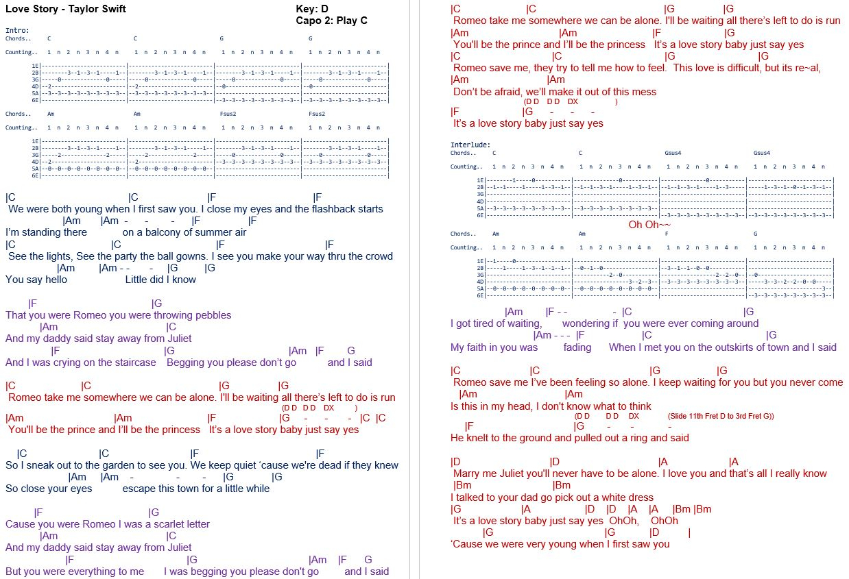 Love Story Chords Talkingchord Taylor Swift Love Story Chords