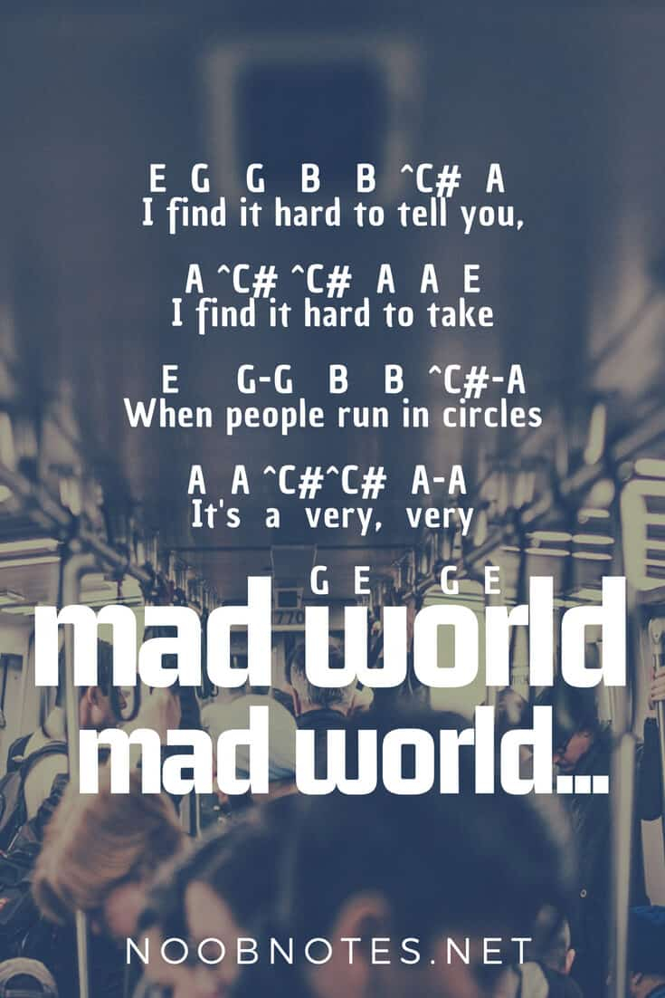 Mad World Chords Mad World Tears For Fears Gary Jules Letter Notes For Beginners