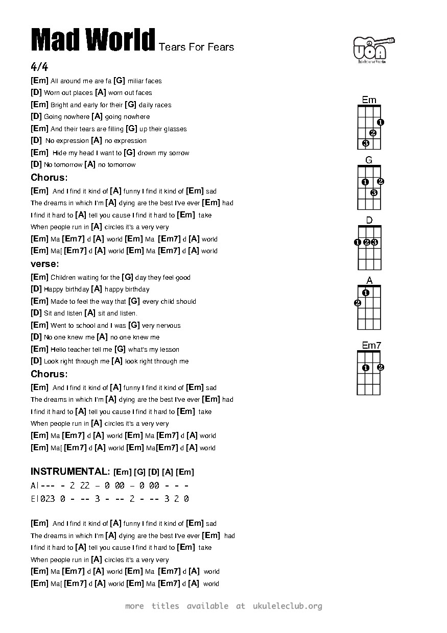 Mad World Chords Ukulele Chords Mad World Tears For Fears