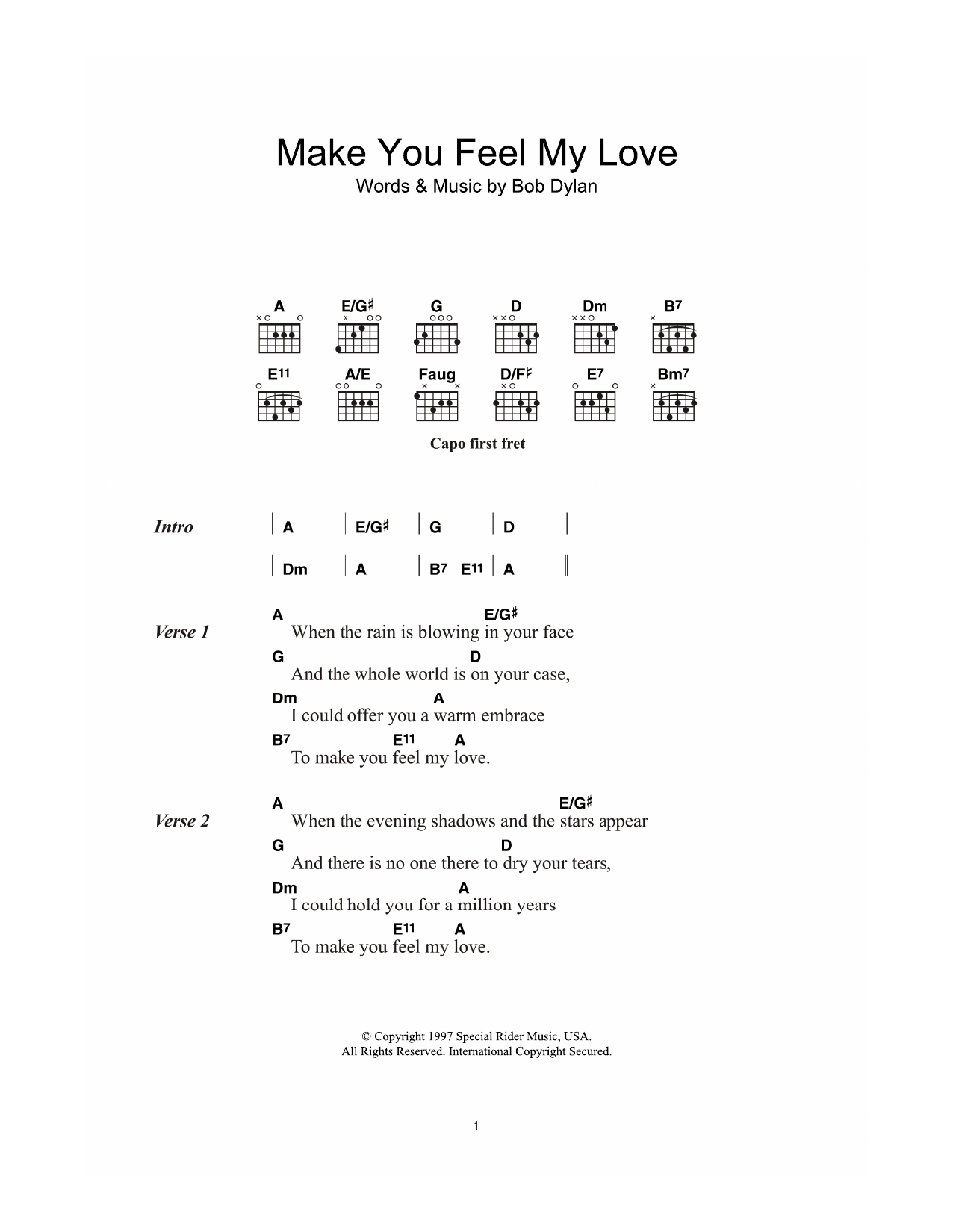 Make You Feel My Love Chords Make You Feel My Love Adele Guitar Chordslyrics Guitar