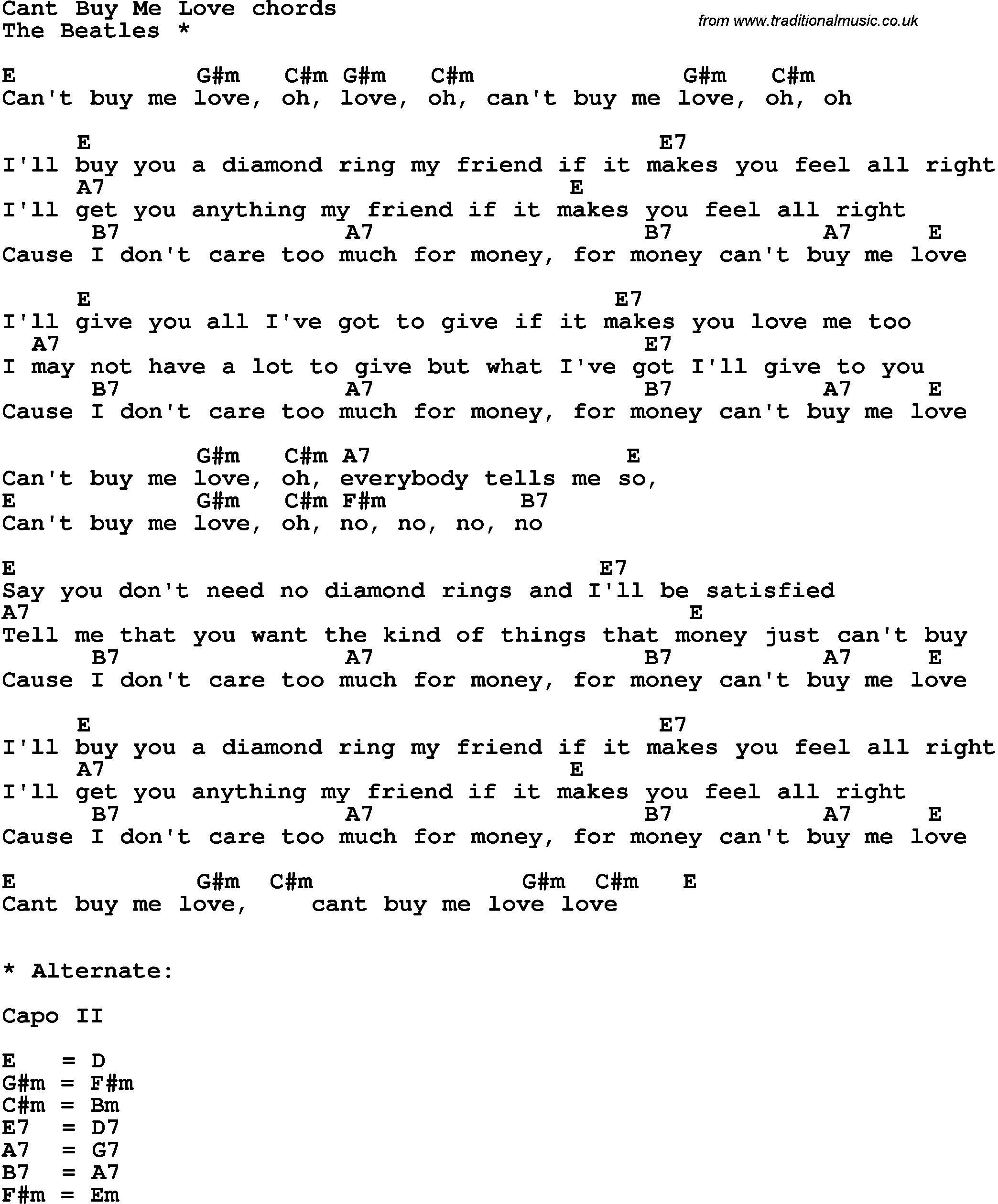 Make You Feel My Love Chords Song Lyrics With Guitar Chords For Cant Buy Me Love The Beatles