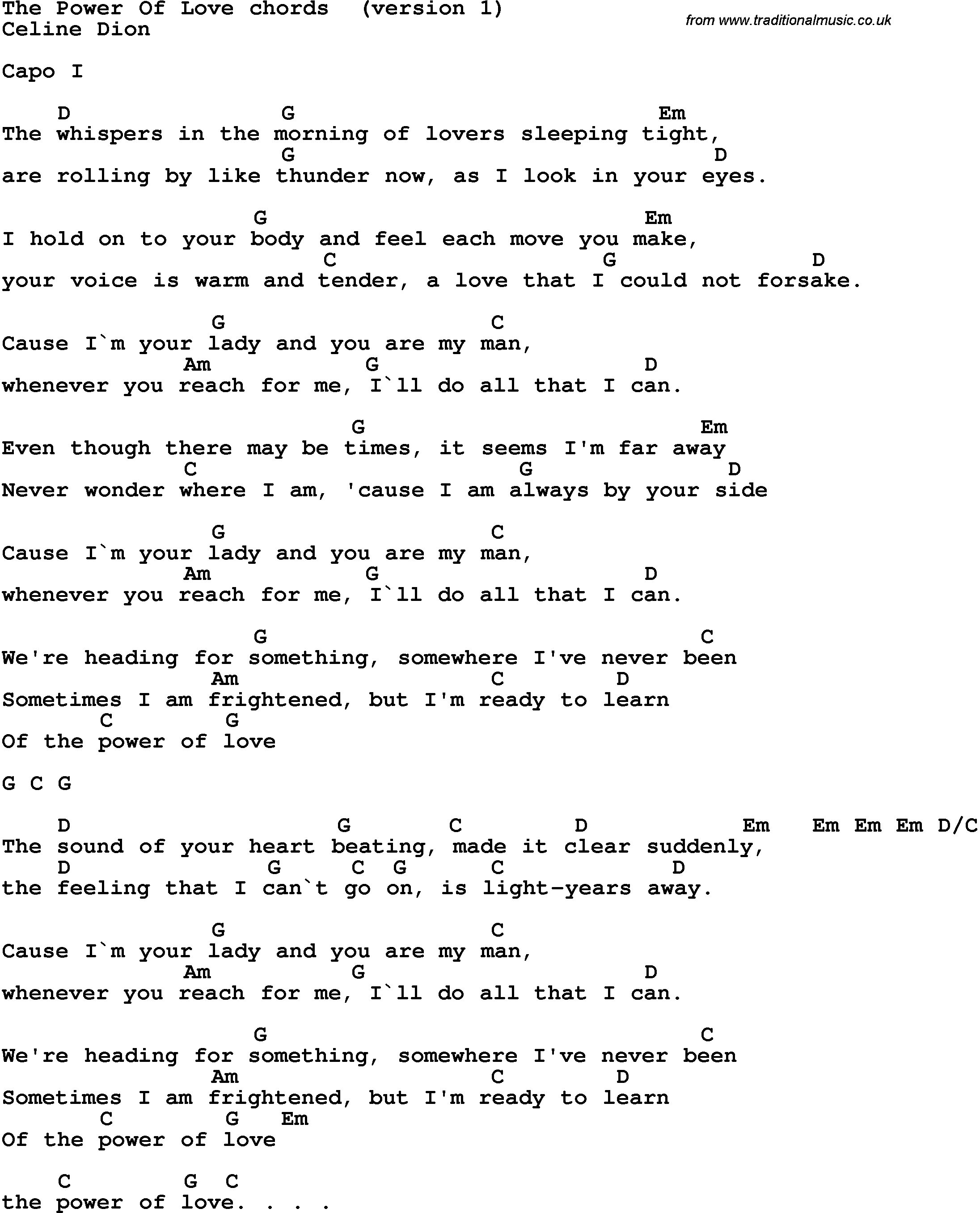 Make You Feel My Love Chords Song Lyrics With Guitar Chords For The Power Of Love Celine Dion