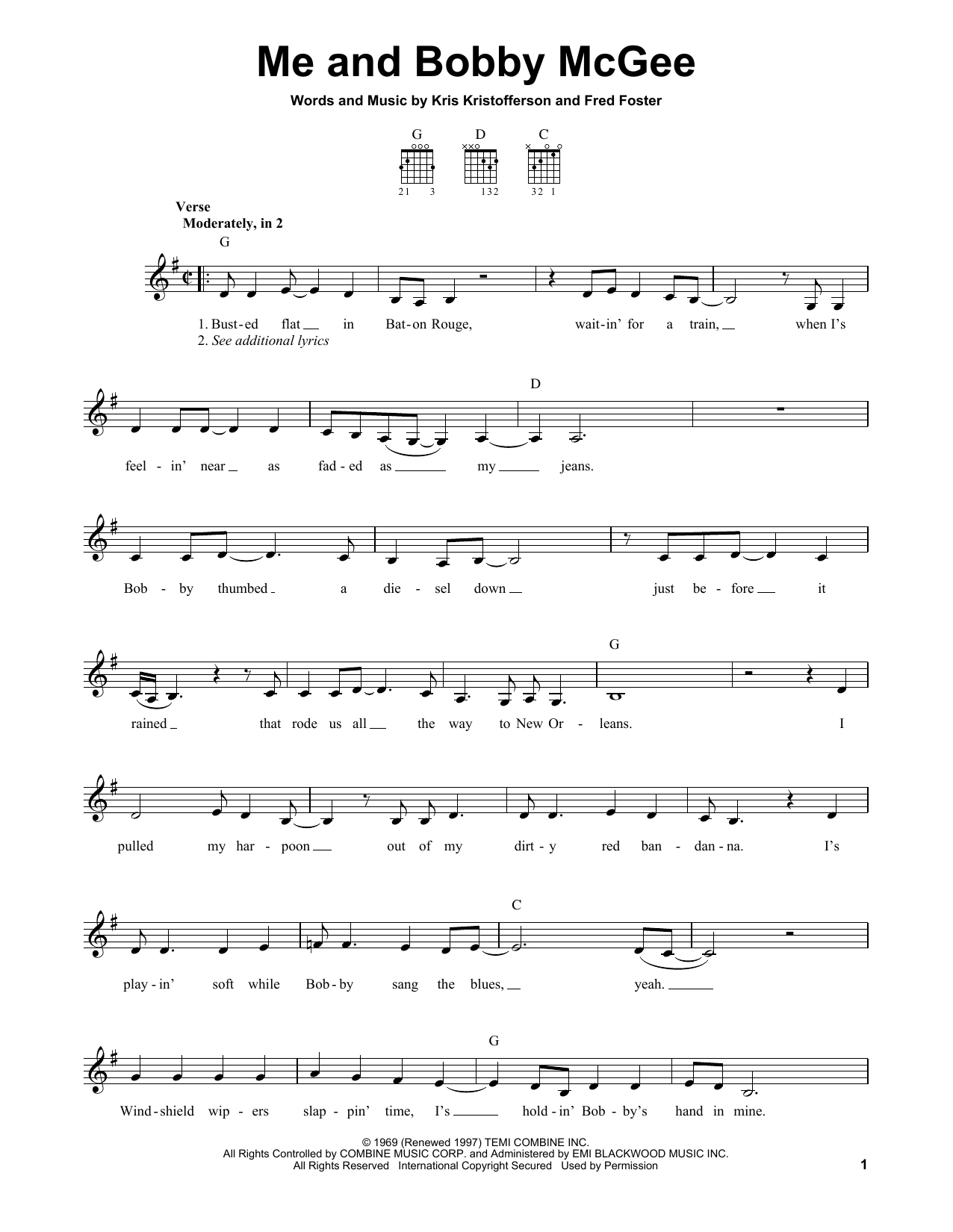 Me And Bobby Mcgee Chords Janis Joplin Me And Bob Mcgee Sheet Music Notes Chords Download Printable Easy Guitar Sku 156631