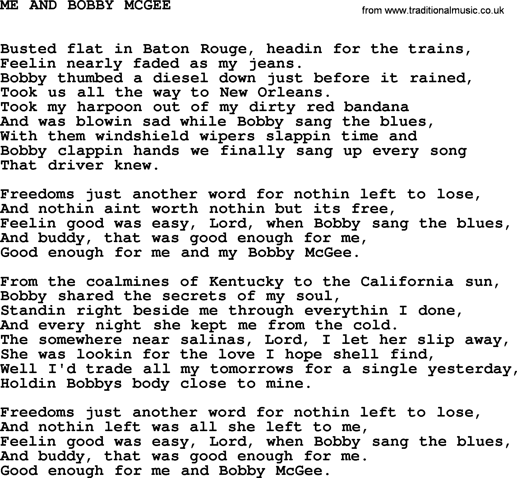 Me And Bobby Mcgee Chords Johnny Cash Song Me And Bob Mcgee Lyrics