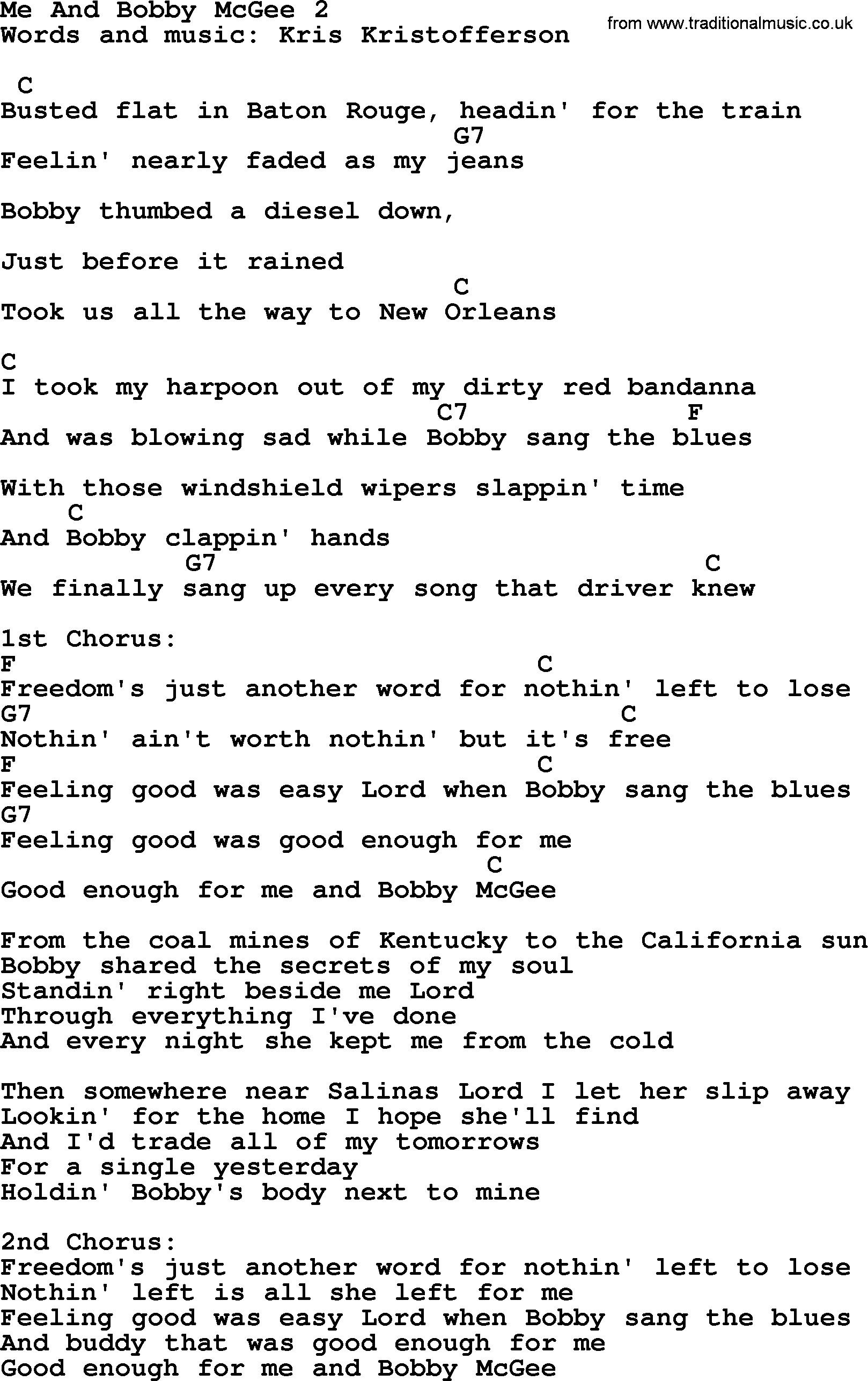 Me And Bobby Mcgee Chords Kris Kristofferson Song Me And Bob Mcgee 2 Lyrics And Chords