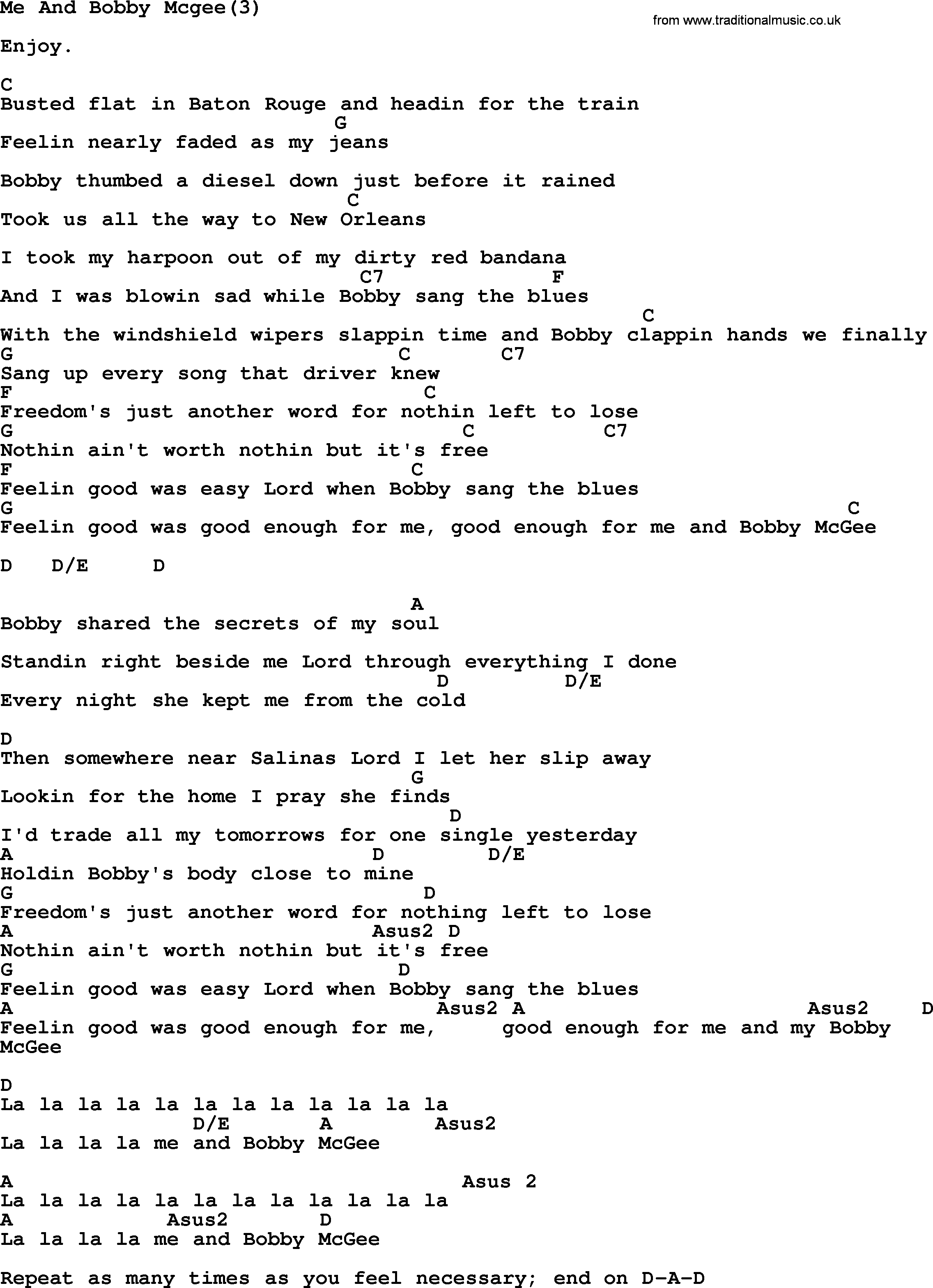 Me And Bobby Mcgee Chords Kris Kristofferson Song Me And Bob Mcgee3 Lyrics And Chords