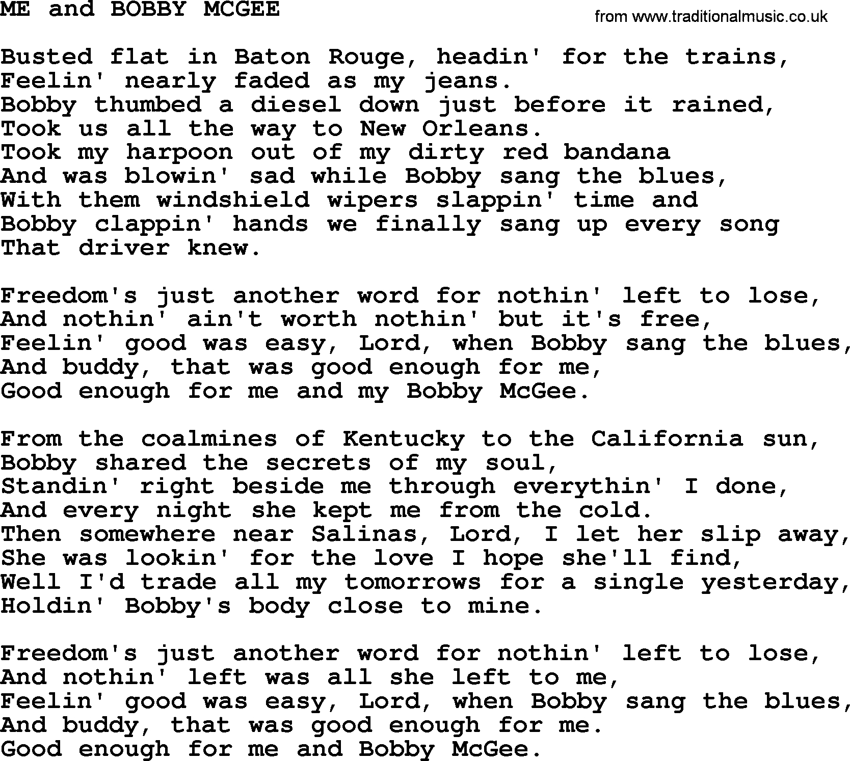 Me And Bobby Mcgee Chords Kris Kristofferson Song Me And Bob Mcgeetxt Lyrics And Chords