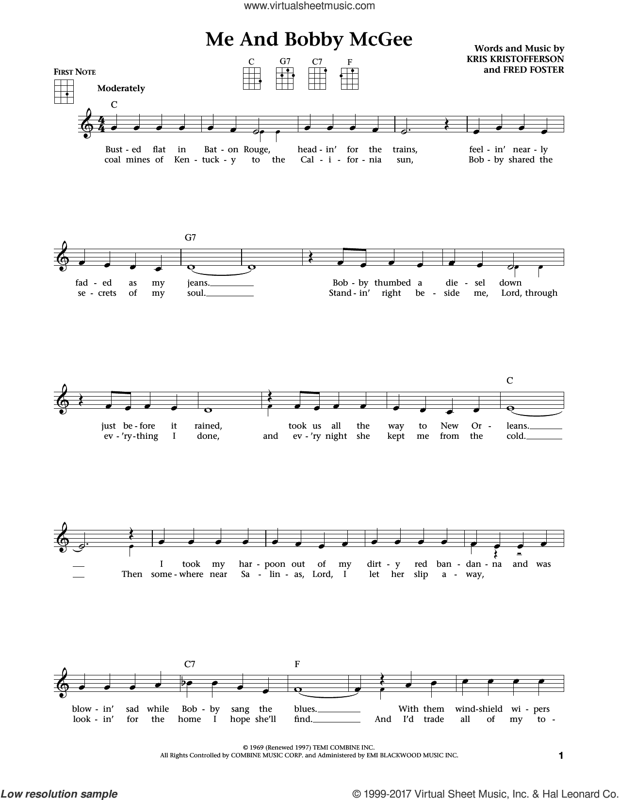 Me And Bobby Mcgee Chords Kristofferson Me And Bob Mcgee From The Daily Ukulele Arr Liz And Jim Beloff Sheet Music