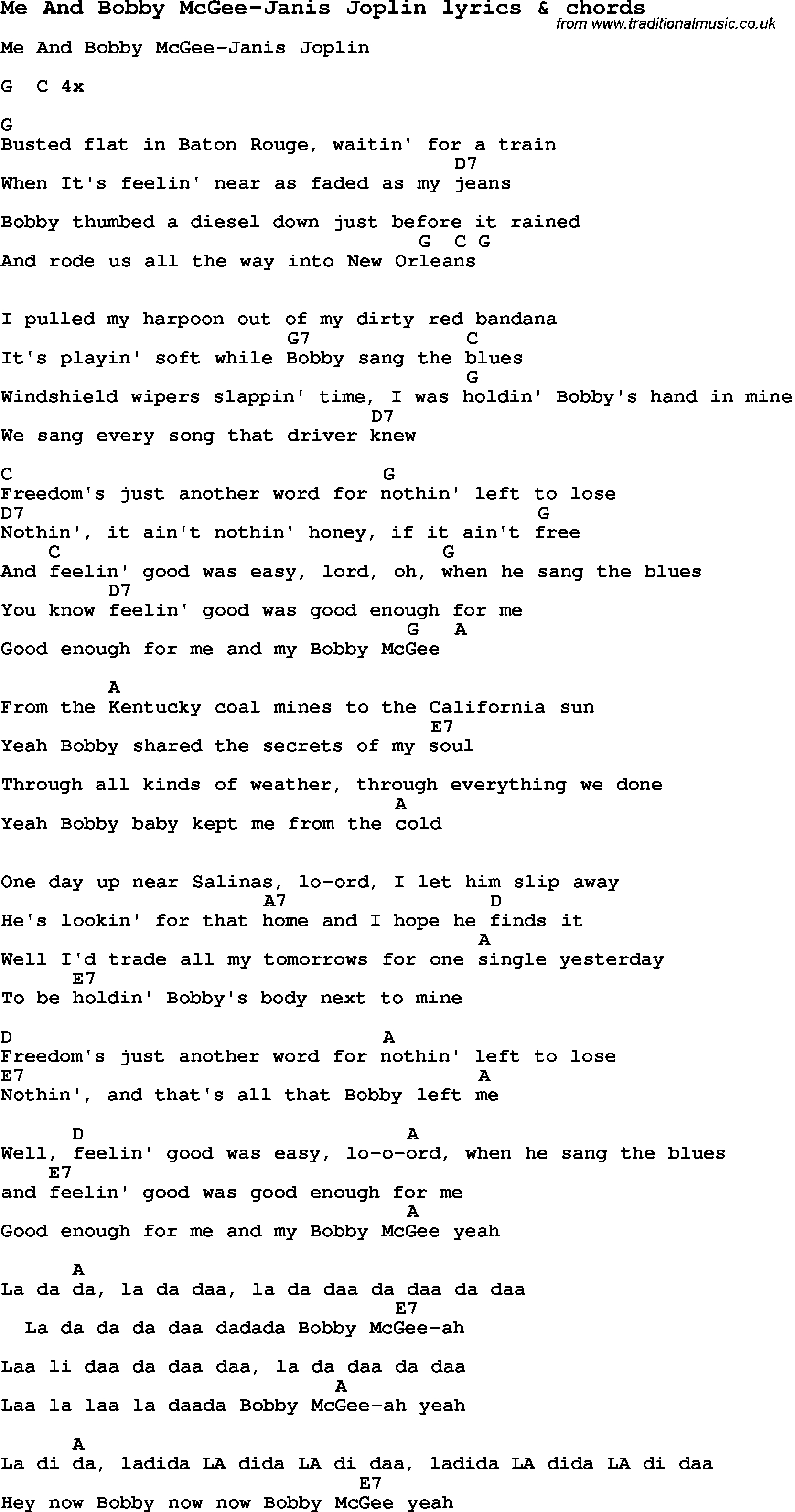 Me And Bobby Mcgee Chords Love Song Lyrics Forme And Bob Mcgee Janis Joplin With Chords