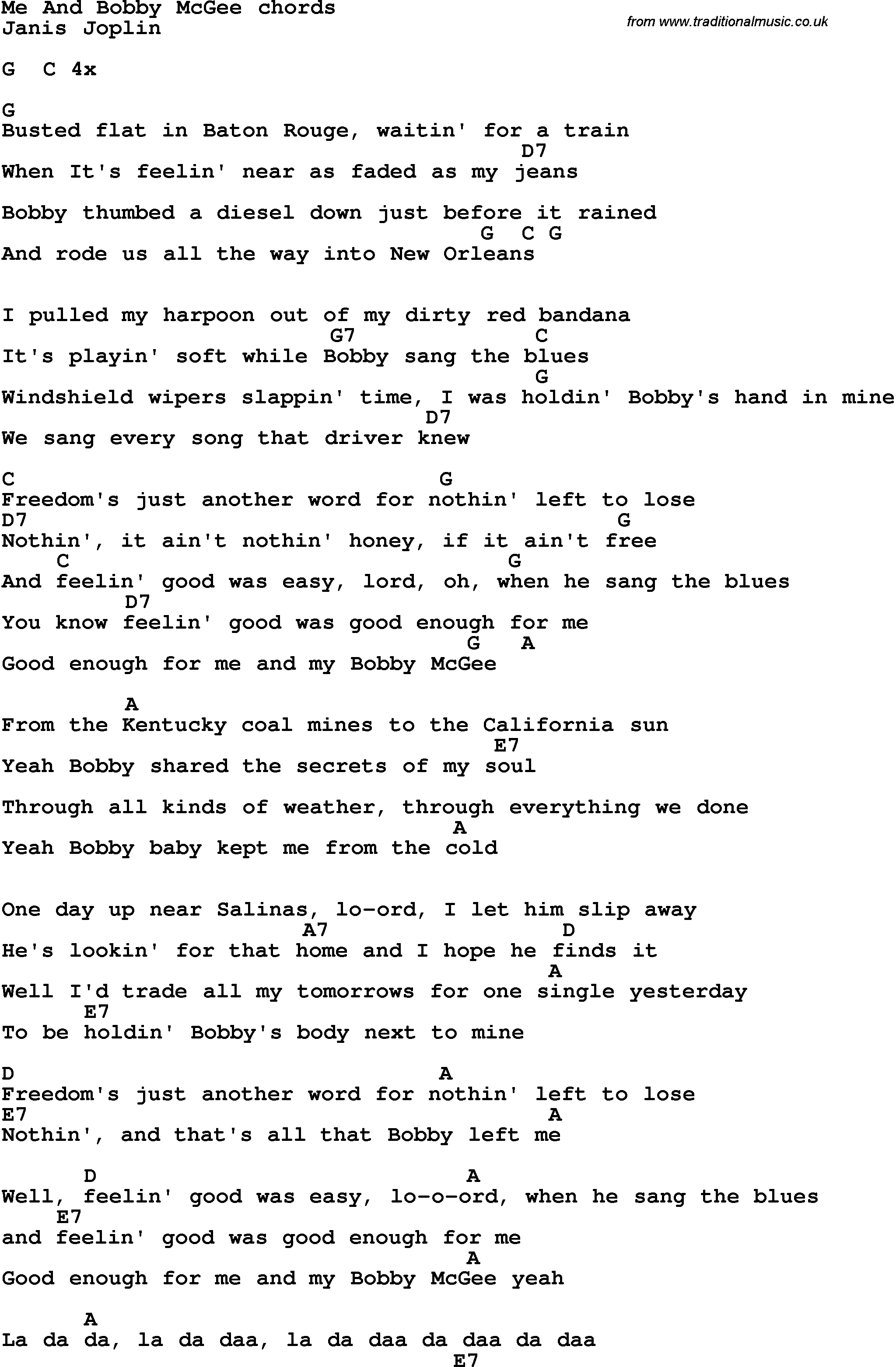 Me And Bobby Mcgee Chords Song Lyrics With Guitar Chords For Me And Bob Mcgee