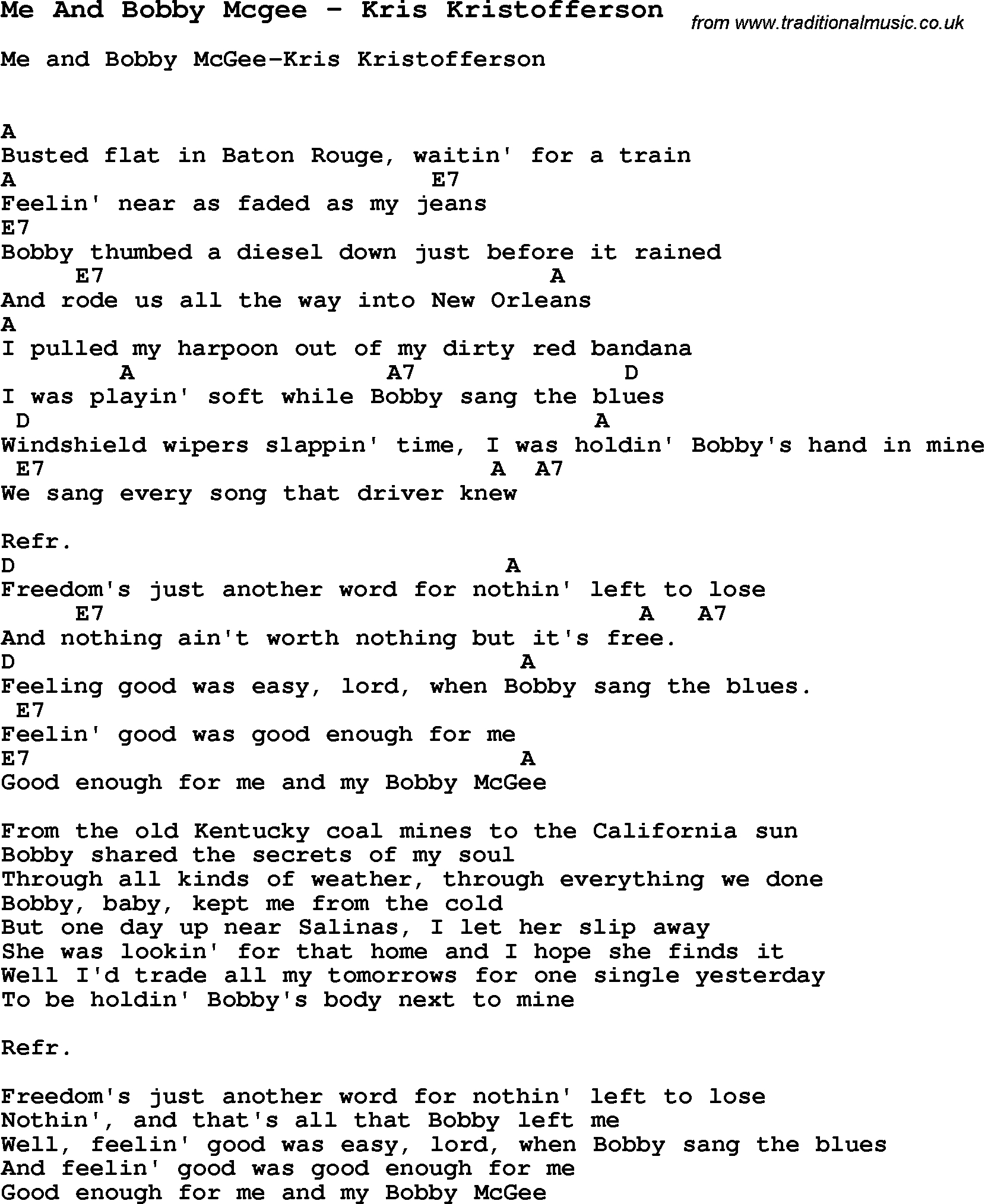 Me And Bobby Mcgee Chords Song Me And Bob Mcgee Kris Kristofferson Song Lyric For Vocal