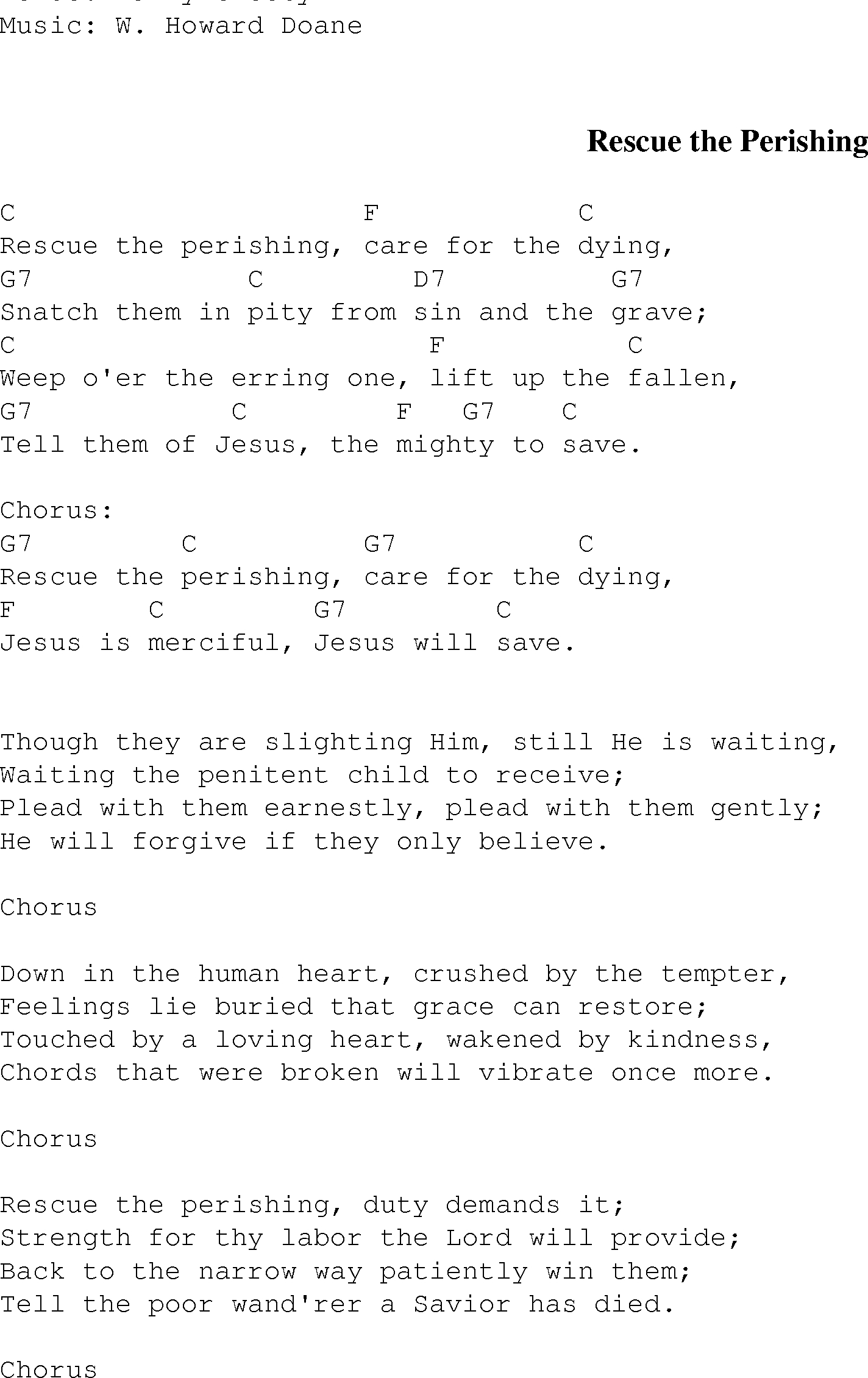 Mighty To Save Chords Rescue The Perishing Christian Gospel Song Lyrics And Chords