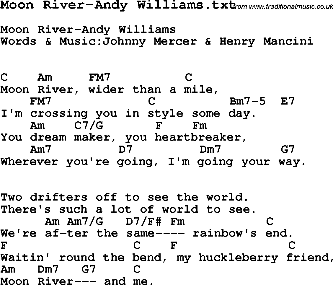 Moon River Chords Jazz Song Moon River Andy Williams With Chords Tabs And Lyrics