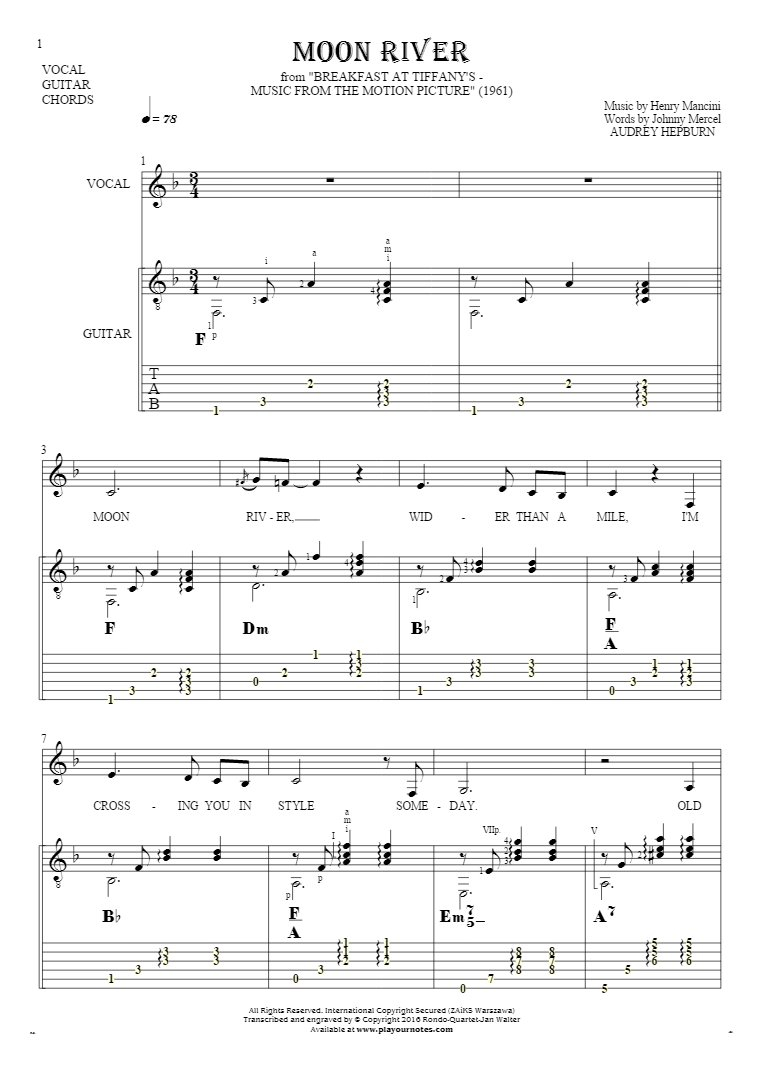 Moon River Chords Moon River Notes Tablature Chords And Lyrics For Vocal With Guitar Accompaniment