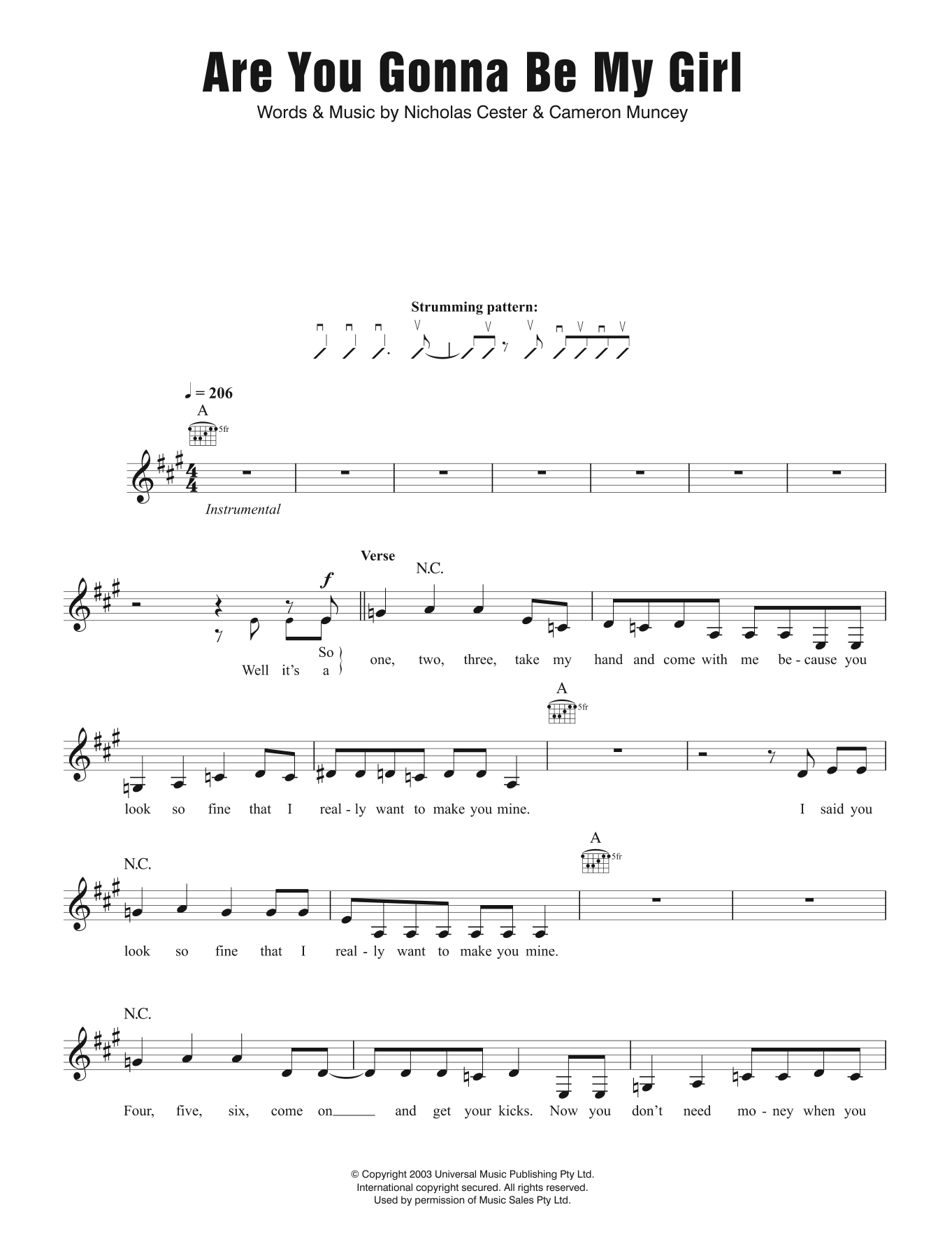 My Girl Chords Are You Gonna Be My Girl Jet Guitar Tab Single Guitar Digital Sheet Music