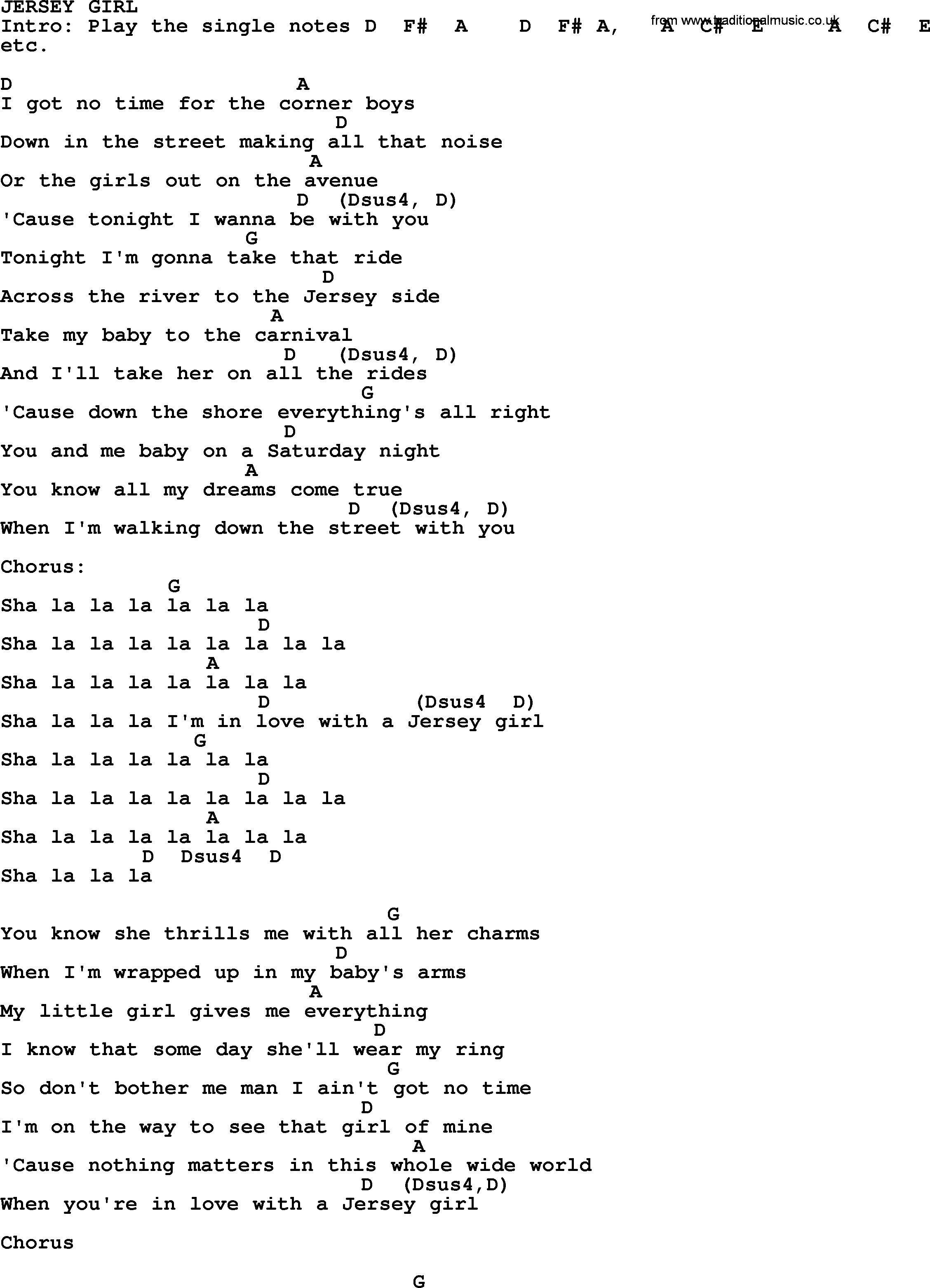 My Girl Chords Bruce Springsteen Song Jersey Girl Lyrics And Chords