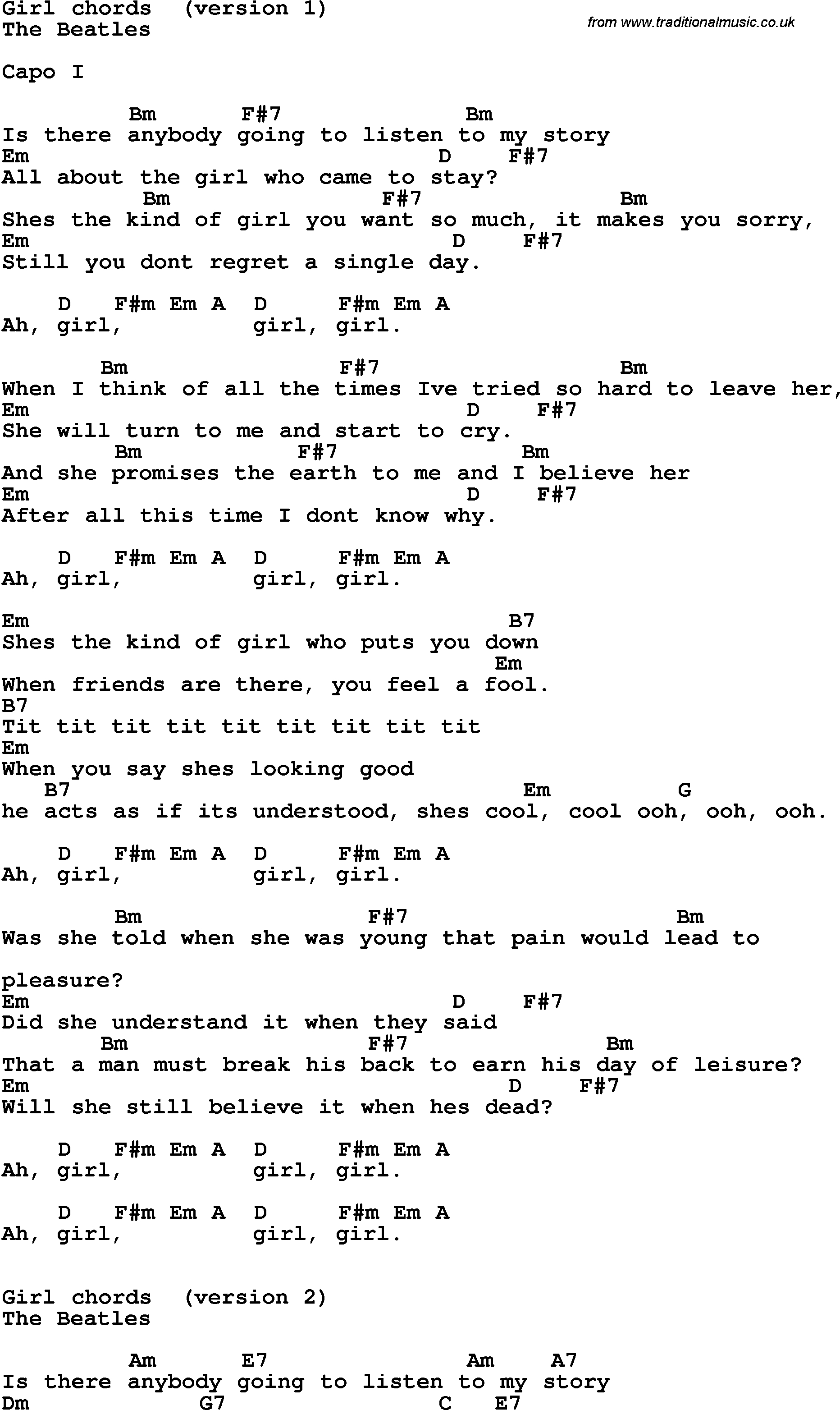 My Girl Chords Song Lyrics With Guitar Chords For Girl The Beatles