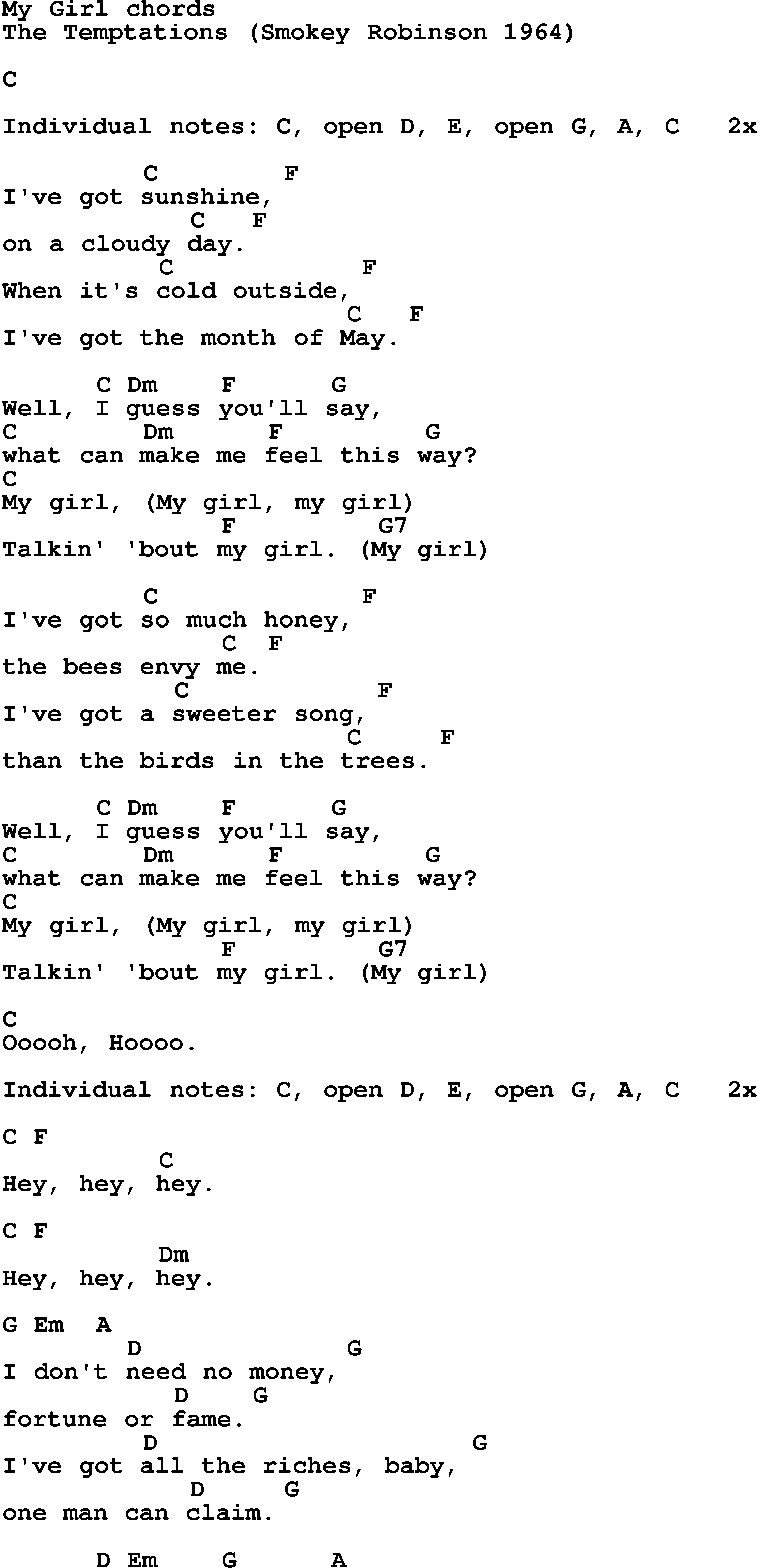 My Girl Chords Song Lyrics With Guitar Chords For My Girl