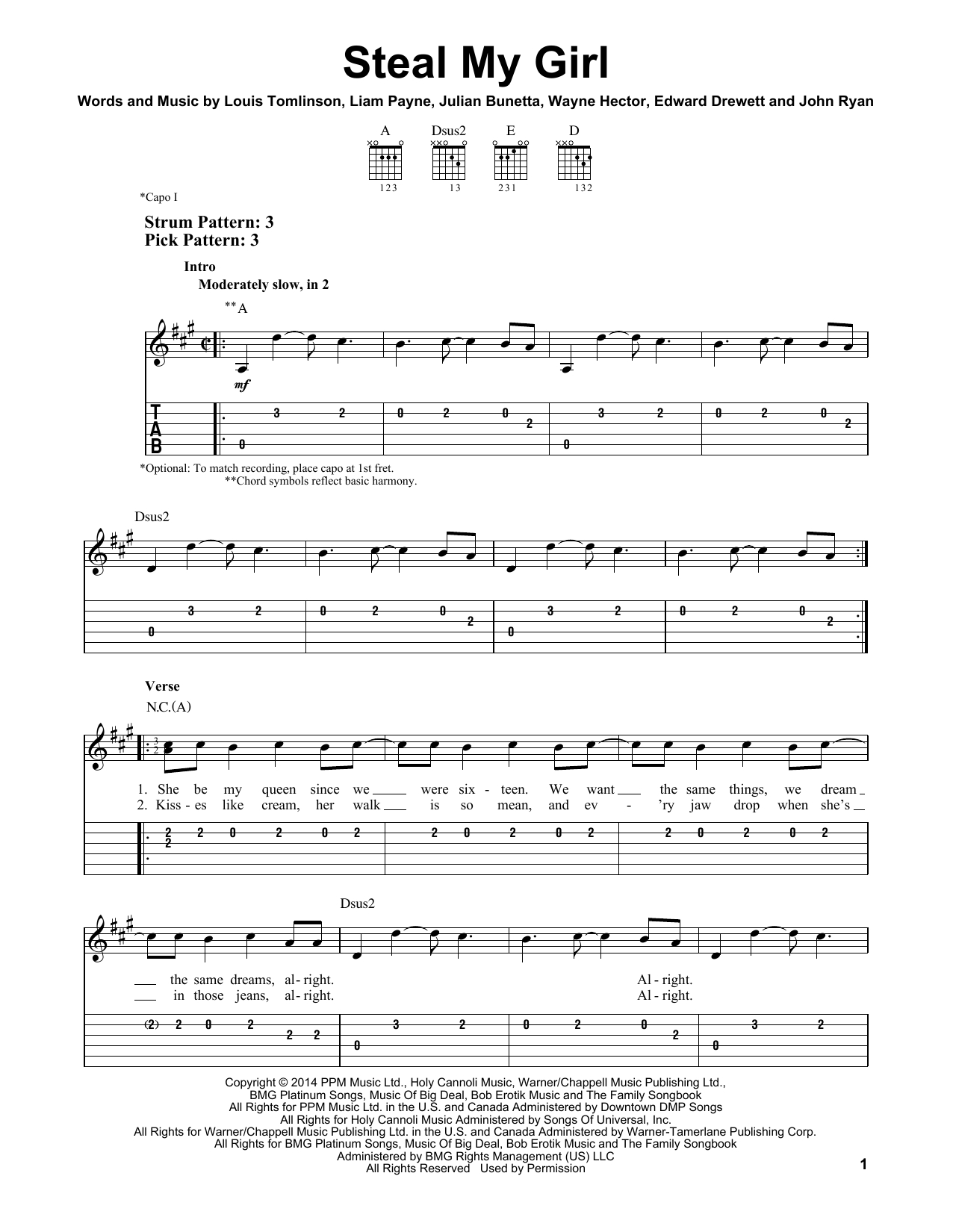 My Girl Chords Steal My Girl One Direction Easy Guitar Tab Guitar Instructor