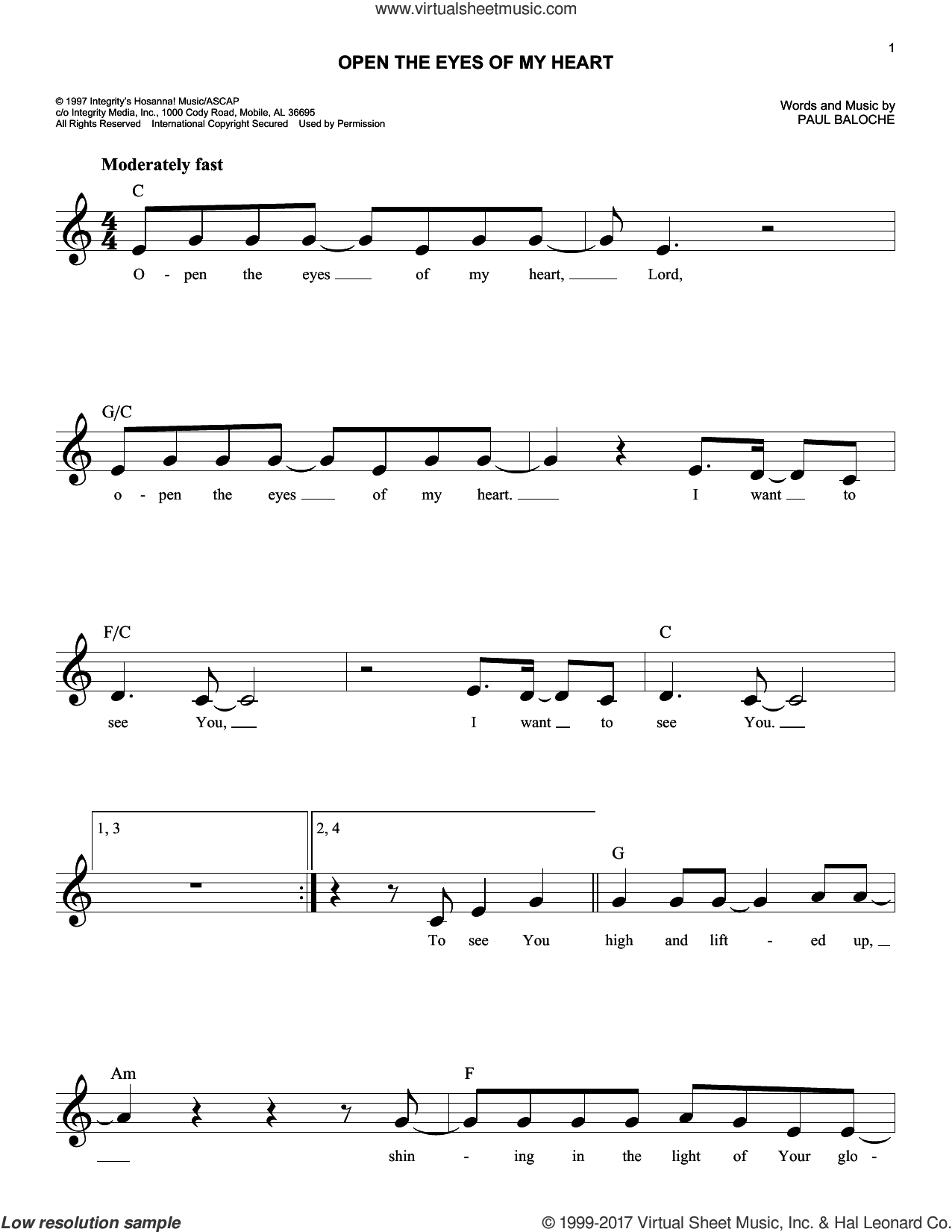 Open The Eyes Of My Heart Chords Baloche Open The Eyes Of My Heart Sheet Music Fake Book Pdf