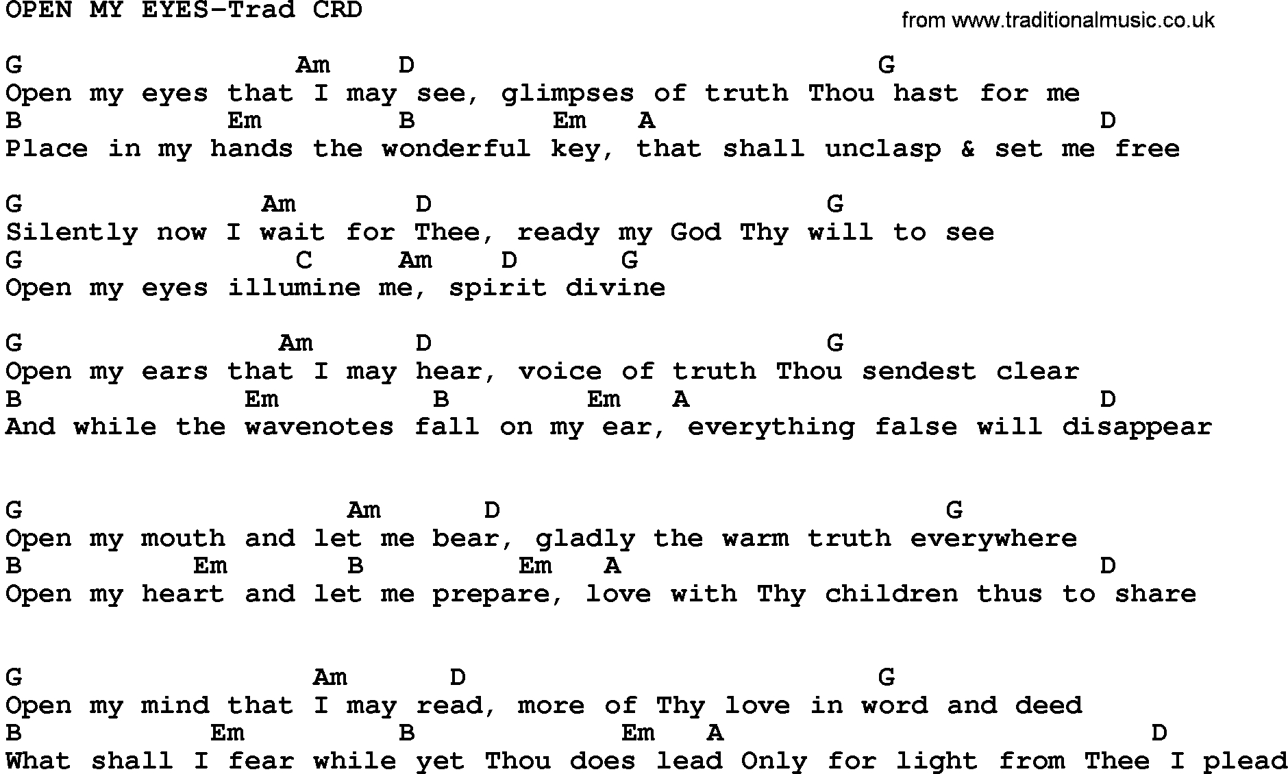 Open The Eyes Of My Heart Chords Gospel Song Open My Eyes Trad Lyrics And Chords