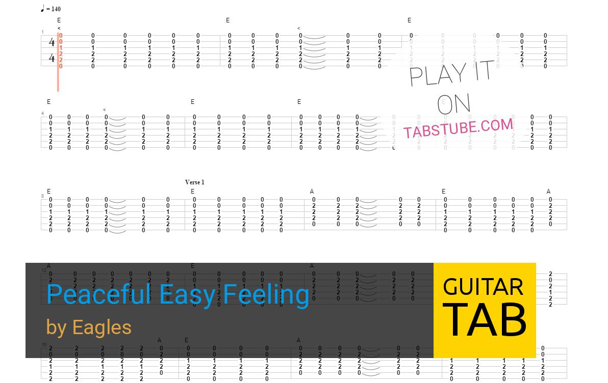 Peaceful Easy Feeling Chords Eagles Peaceful Easy Feeling Guitar Tab And Chords Online View