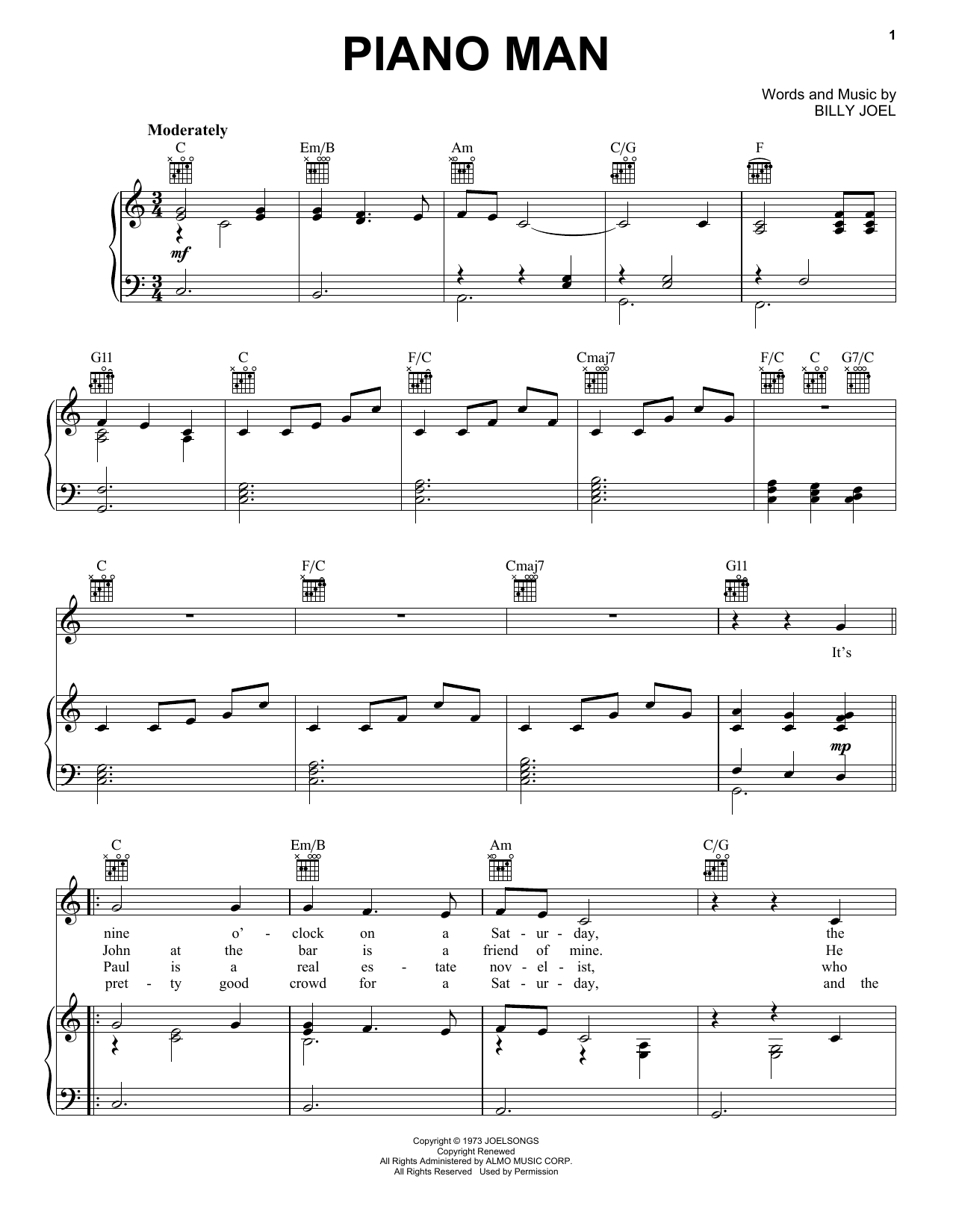 Piano Man Chords Billy Joel Piano Man Sheet Music Notes Chords Download Printable Melody Line Lyrics Chords Sku 195079