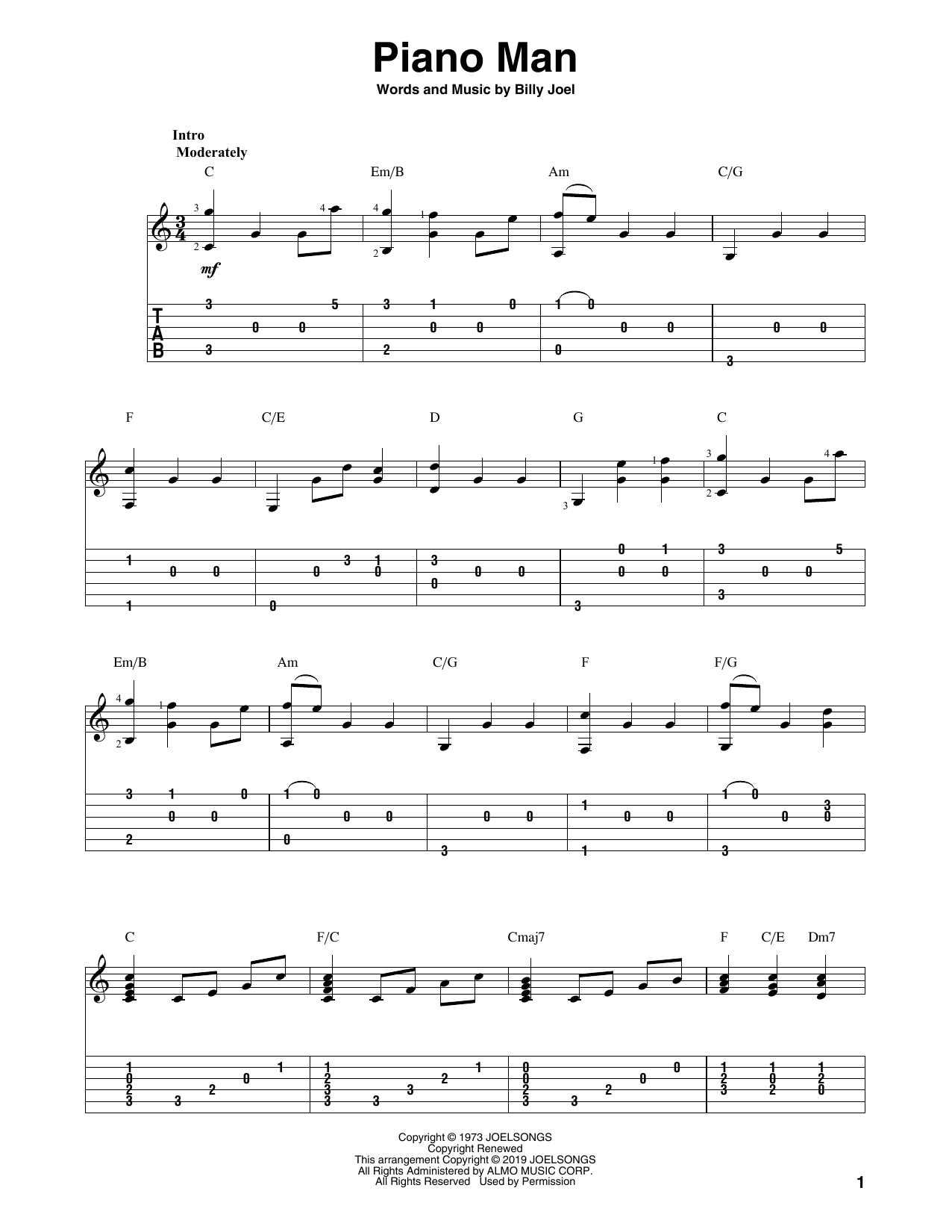 Piano Man Chords Billy Joel Piano Man Sheet Music Notes Chords Download Printable Solo Guitar Tab Sku 414571