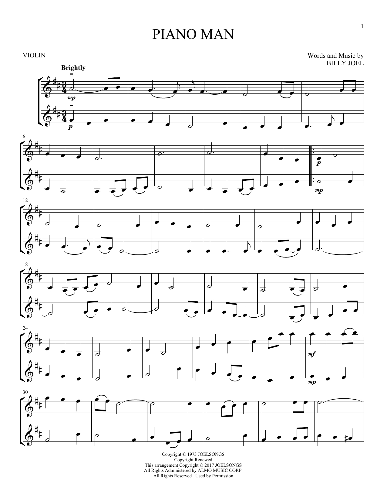 Piano Man Chords Billy Joel Piano Man Sheet Music Notes Chords Download Printable Vlndt Sku 403554