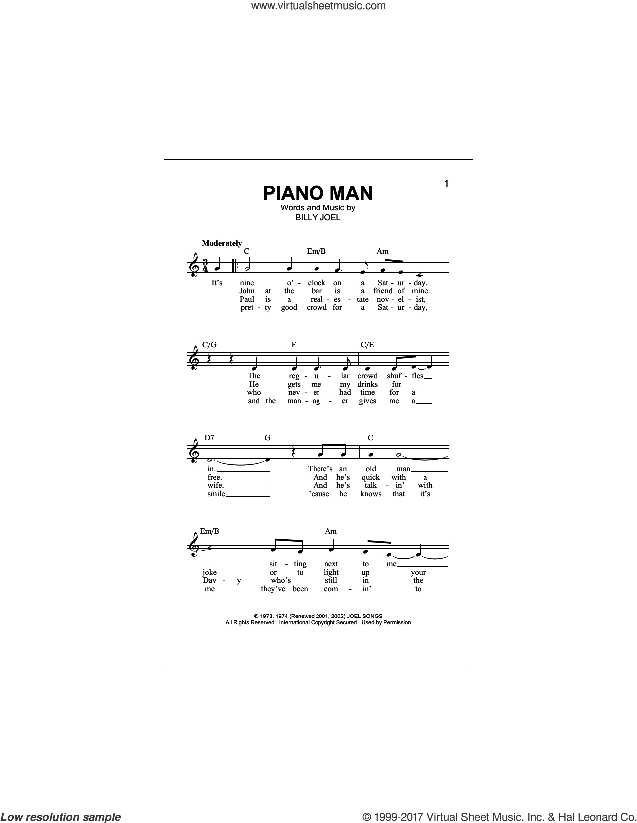 Piano Man Chords Joel Piano Man Sheet Music Fake Book Pdf