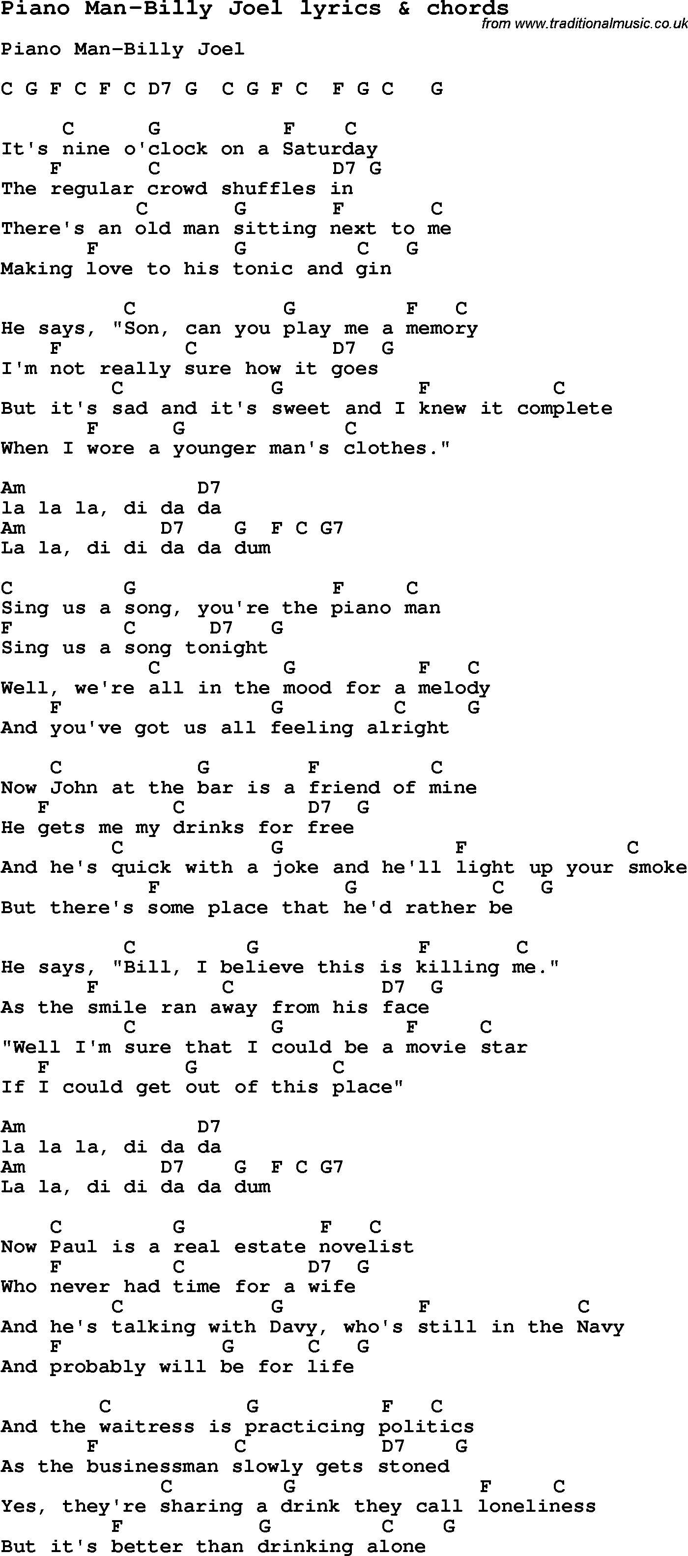 Piano Man Chords Love Song Lyrics Forpiano Man Billy Joel With Chords