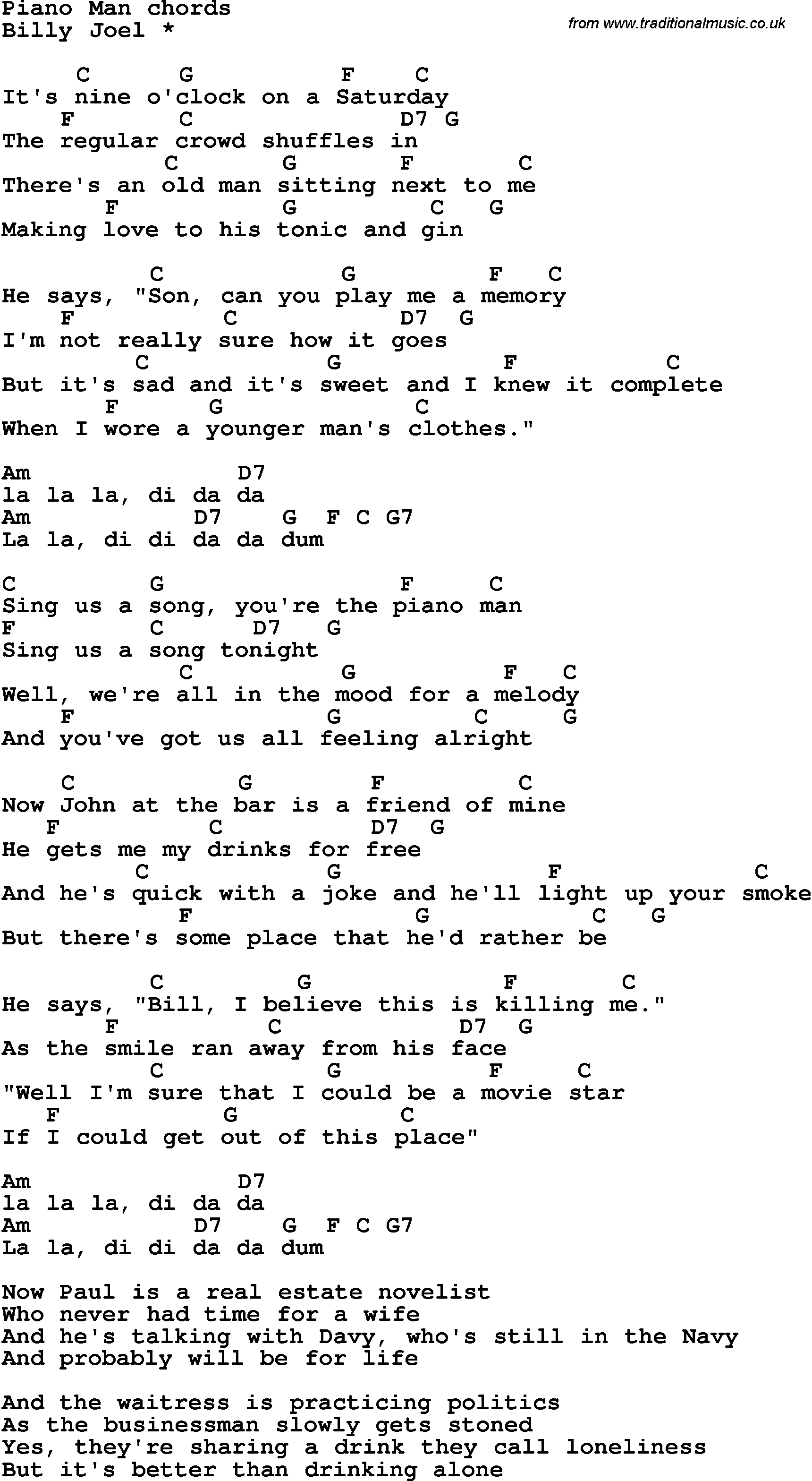 Piano Man Chords Song Lyrics With Guitar Chords For Piano Man