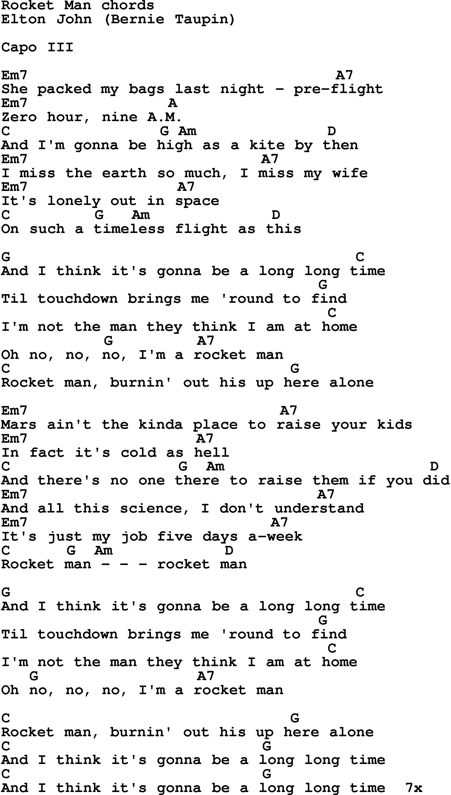 Piano Man Chords Song Lyrics With Guitar Chords For Rocket Man