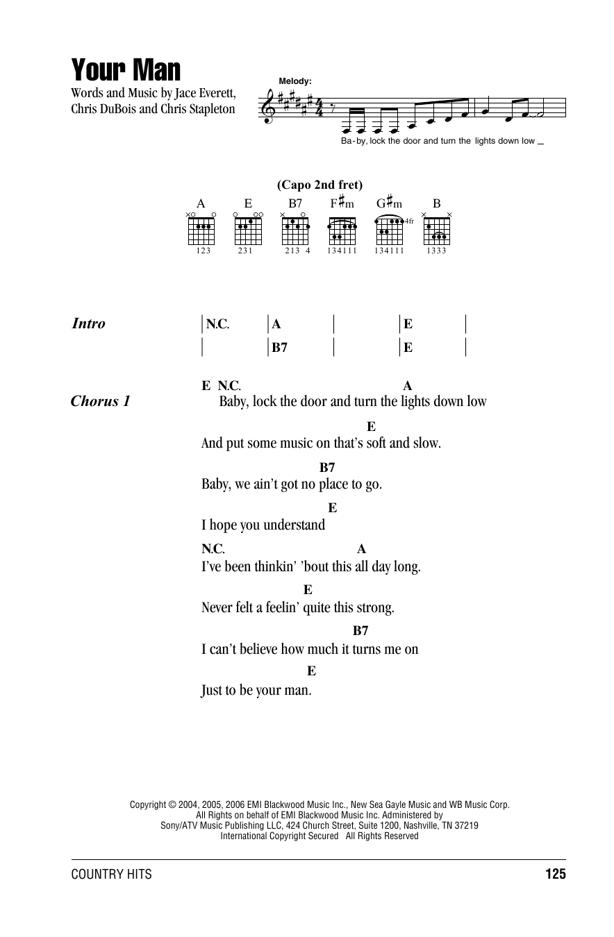 Piano Man Chords Your Man Josh Turner Piano Vocal Guitar Right Hand Melody Digital Sheet Music